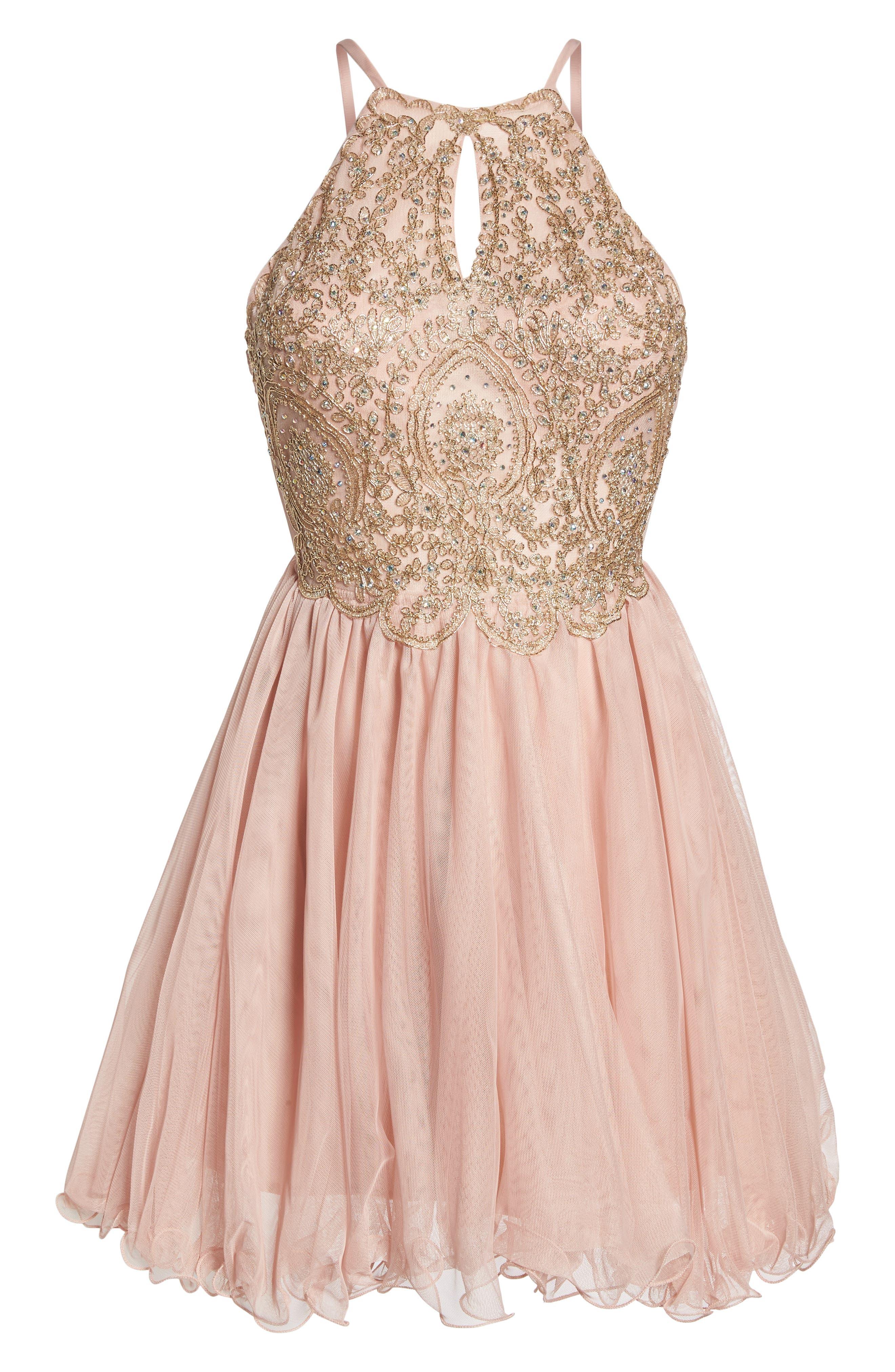 Embellished Fit & Flare Dress,                             Alternate thumbnail 6, color,                             Blush/ Gold
