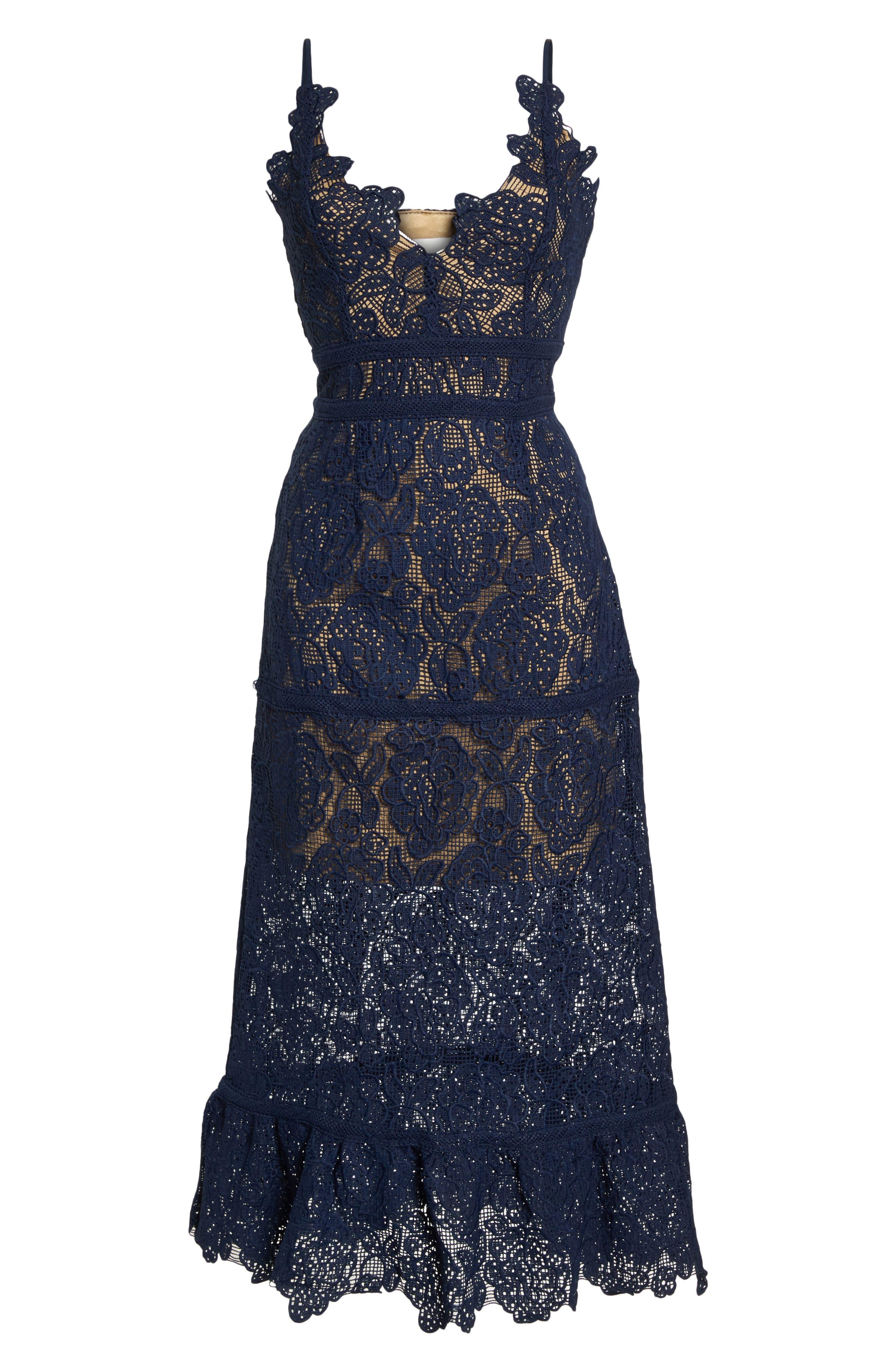 Majorie Lace Dress,                             Alternate thumbnail 7, color,                             Navy