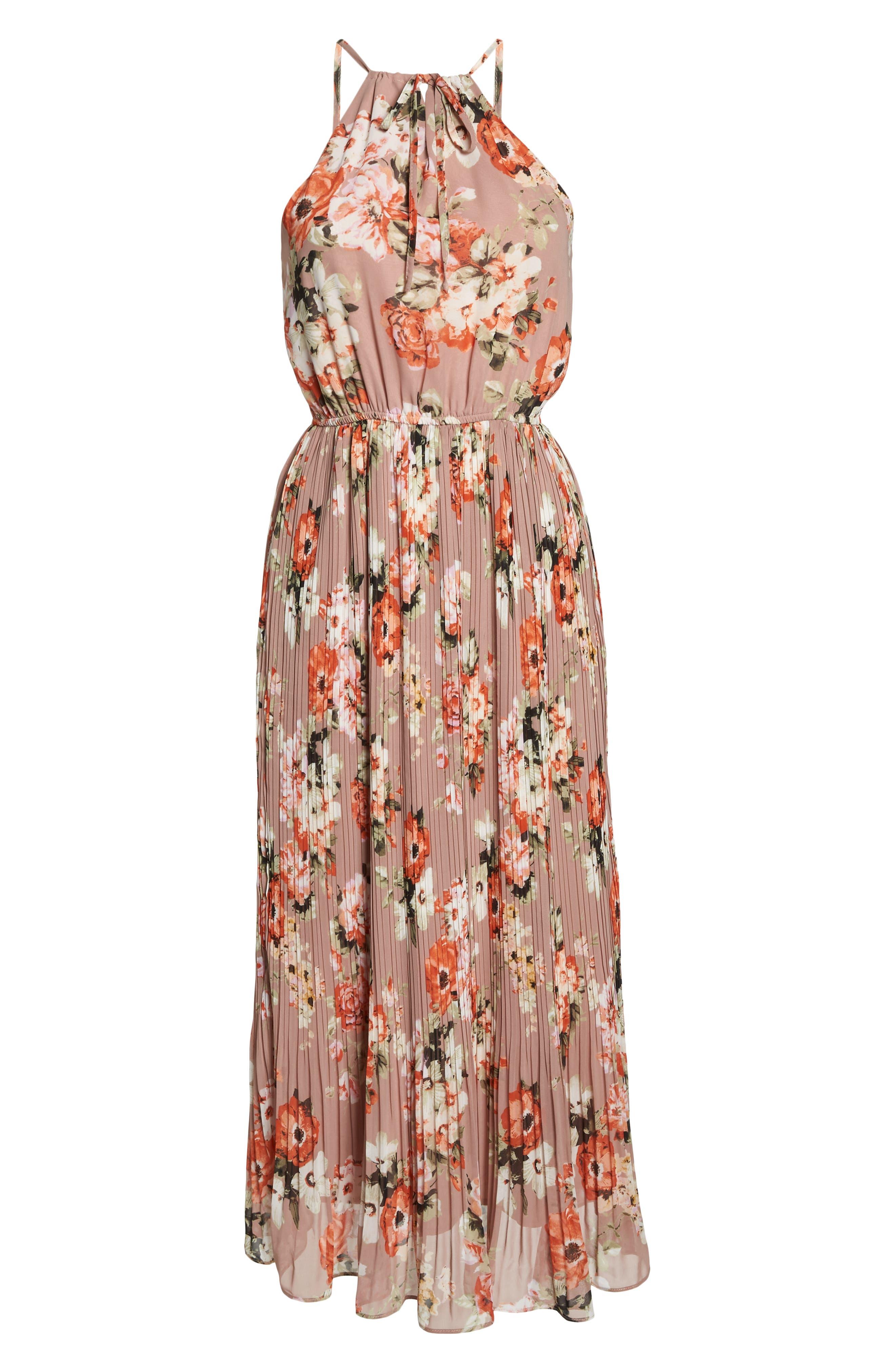 Floral Pleated Halter Dress,                             Alternate thumbnail 7, color,                             Mauve