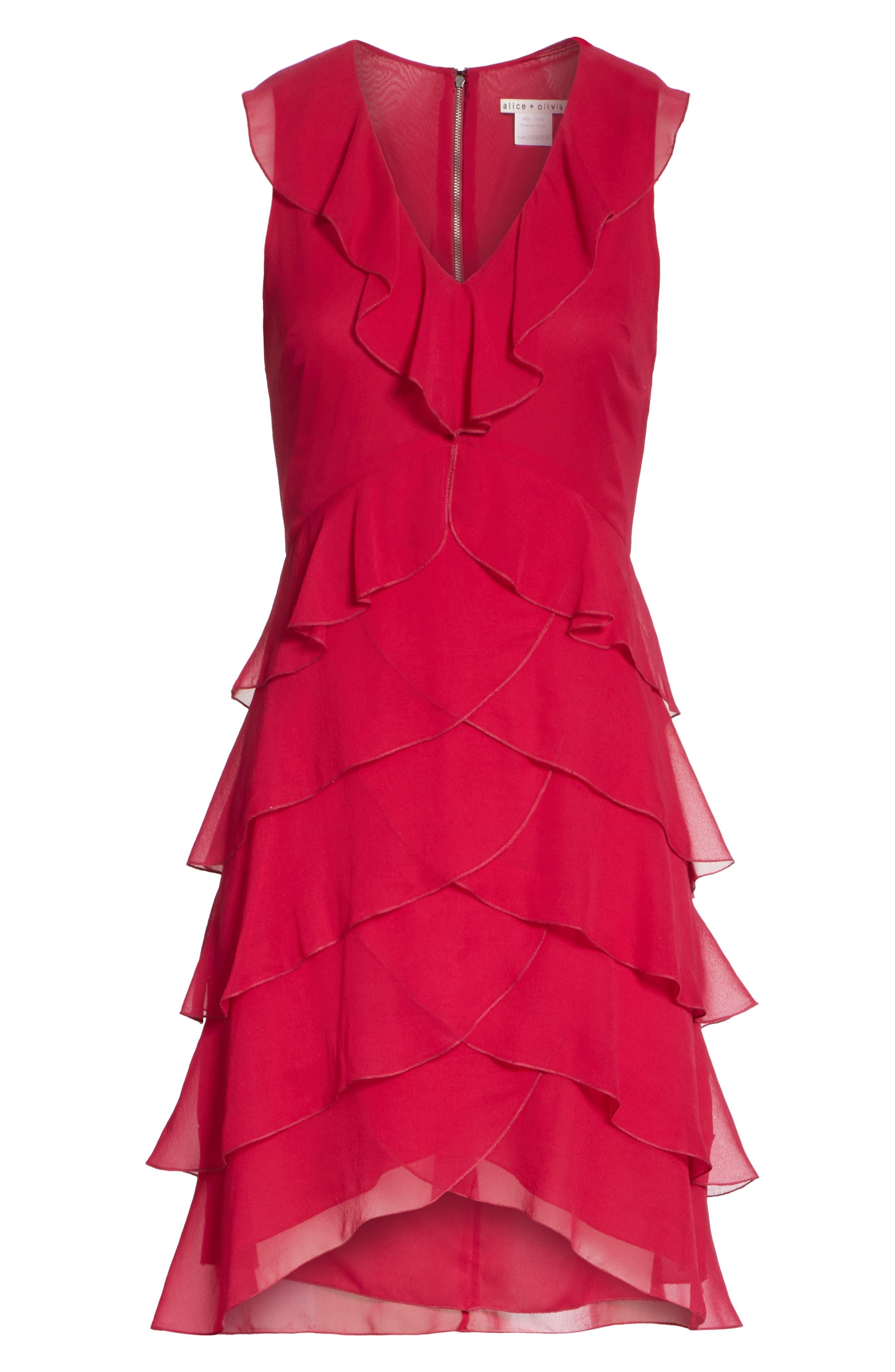 Felicita Ruffle Silk Dress,                             Alternate thumbnail 6, color,                             Raspberry