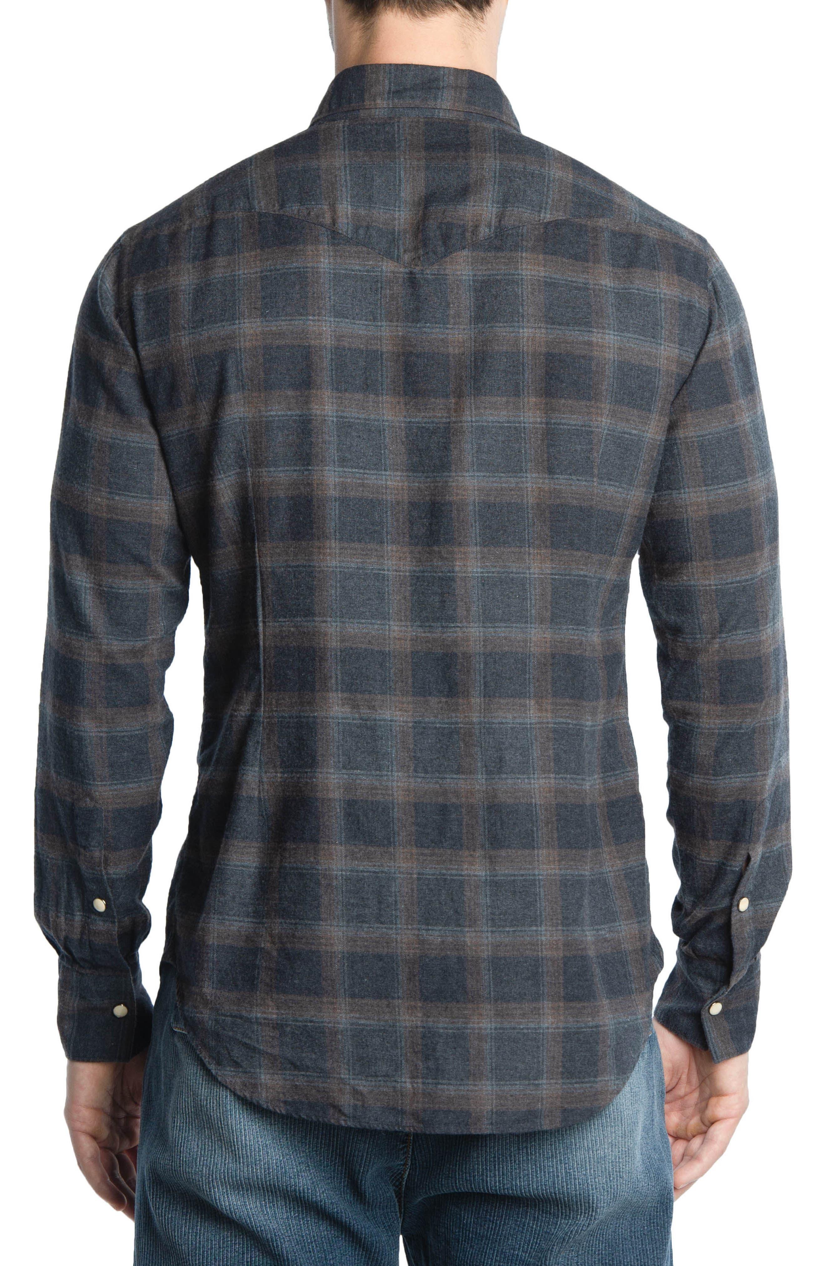 Slim Fit Plaid Western Shirt,                             Alternate thumbnail 2, color,                             Grey/ Brown