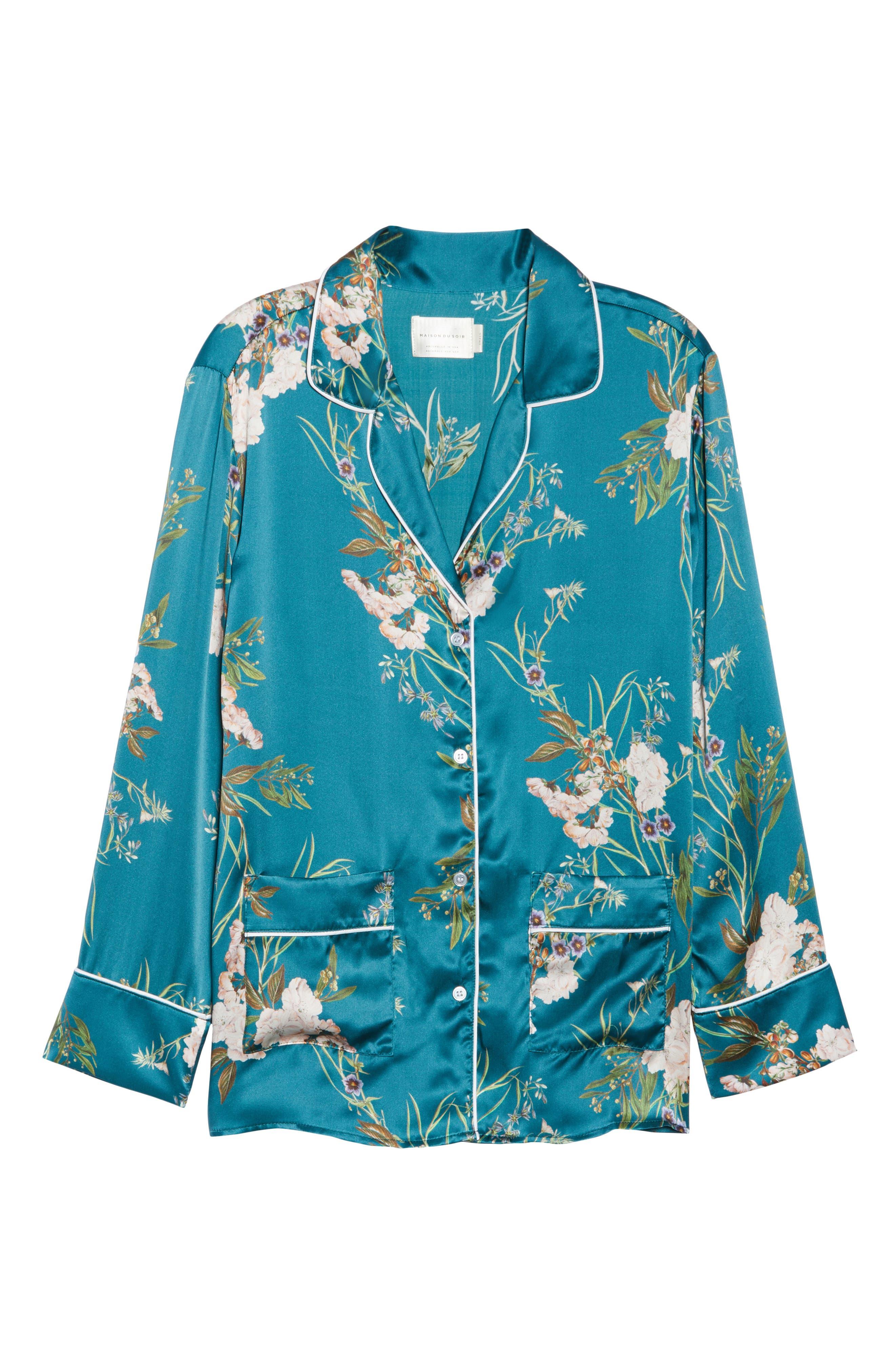 Brigette Silk Pajama Top,                             Alternate thumbnail 7, color,                             Teal Floral