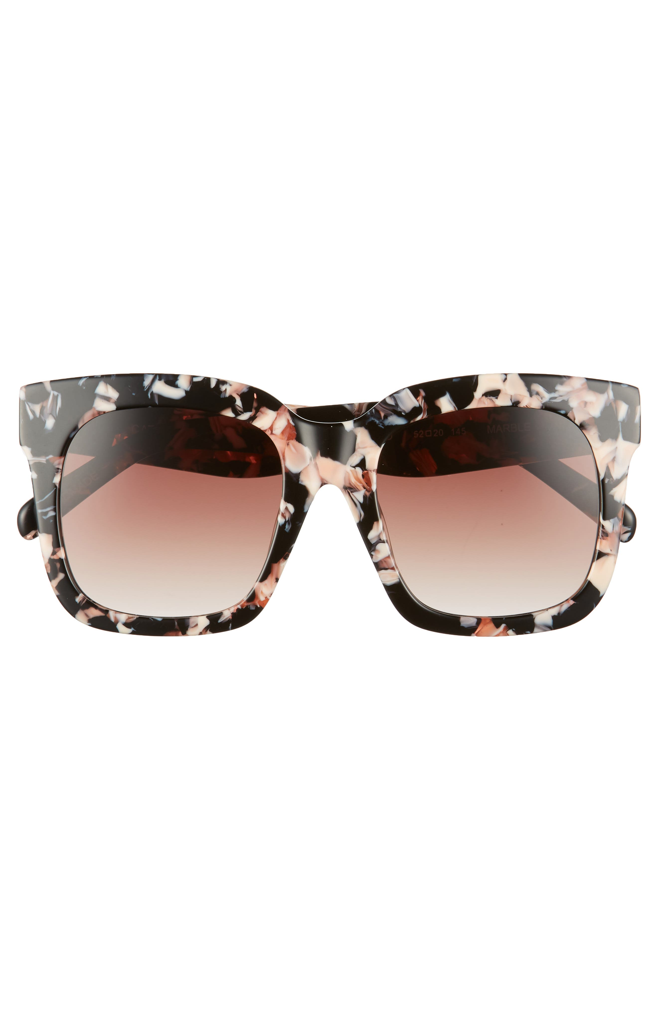 Coco 52mm Sunglasses,                             Alternate thumbnail 3, color,                             Black Pink Marble