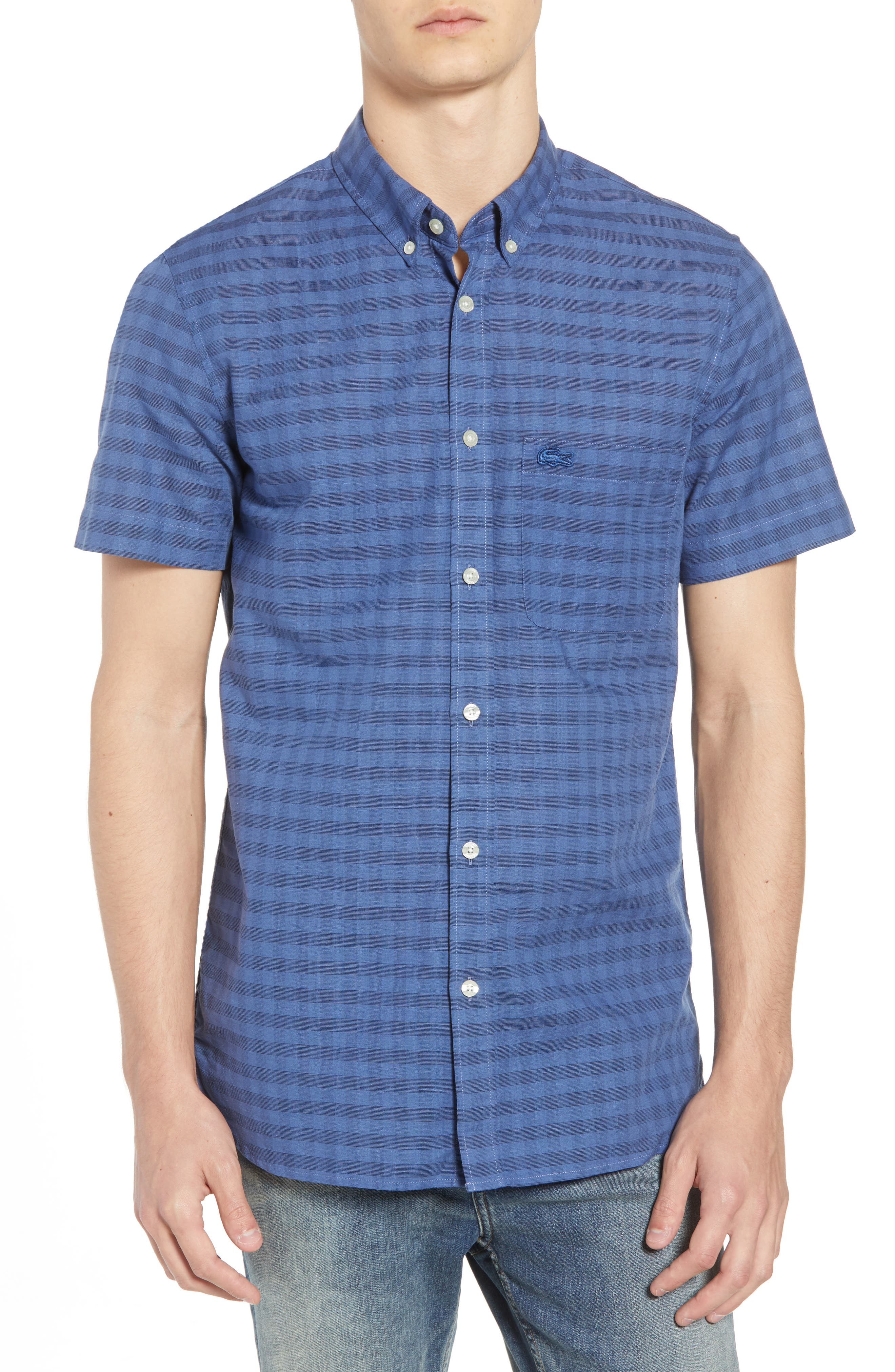 Slim Fit Check Cotton & Linen Sport Shirt,                         Main,                         color, Marino