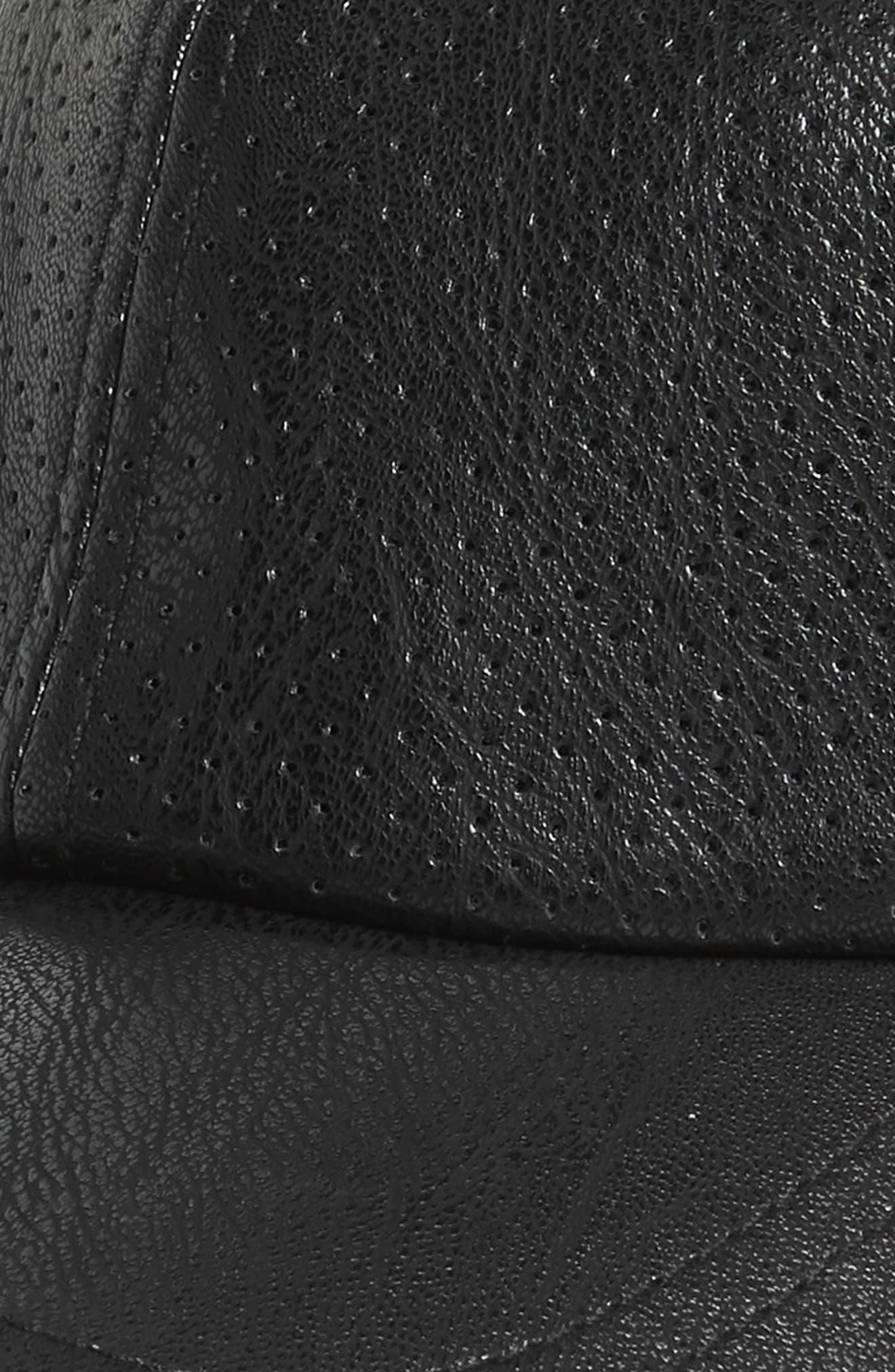 Faux Leather Baseball Cap,                             Alternate thumbnail 3, color,                             Black
