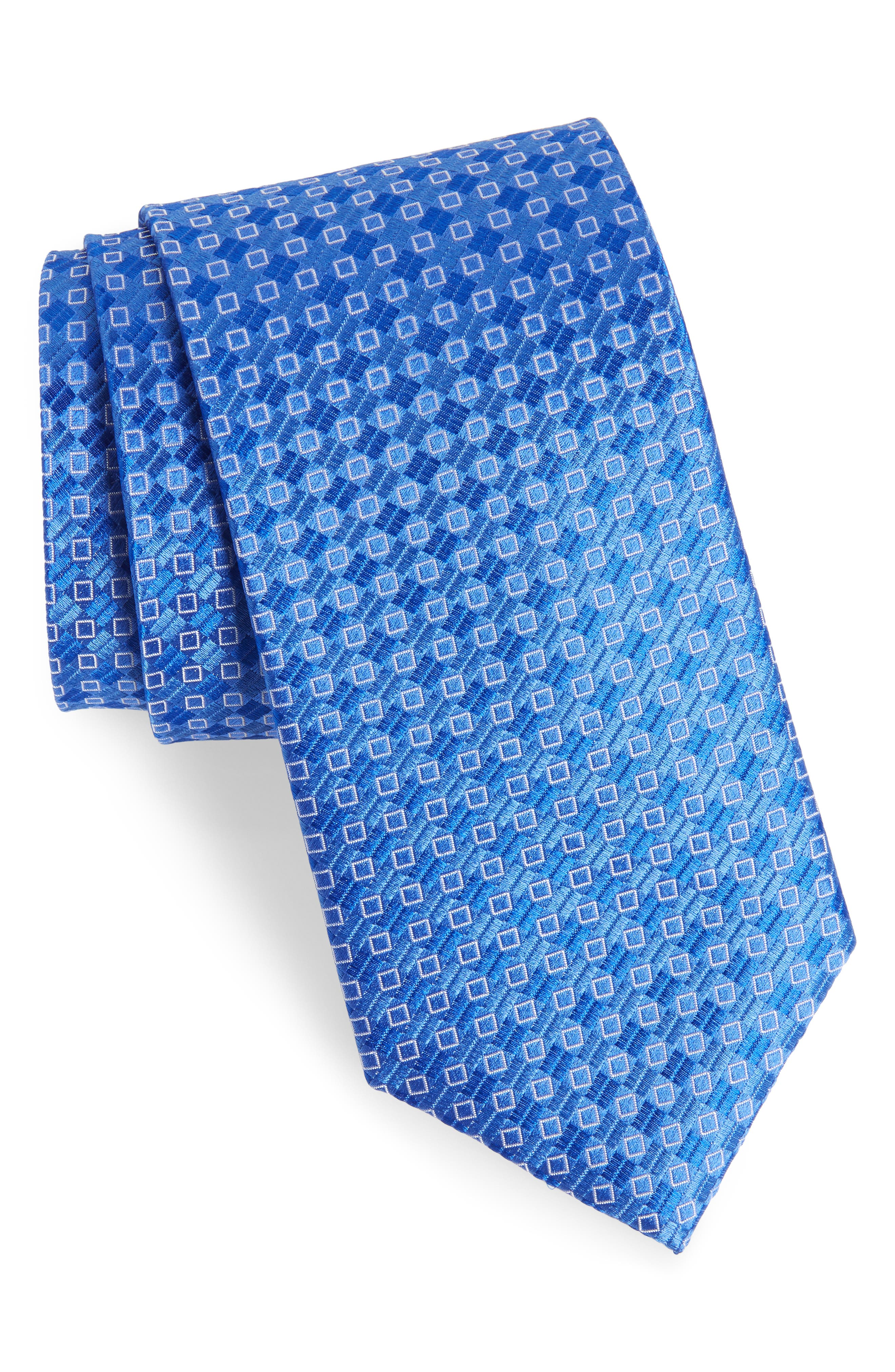Middletown Geometric Silk Tie,                         Main,                         color, Sterling Blue