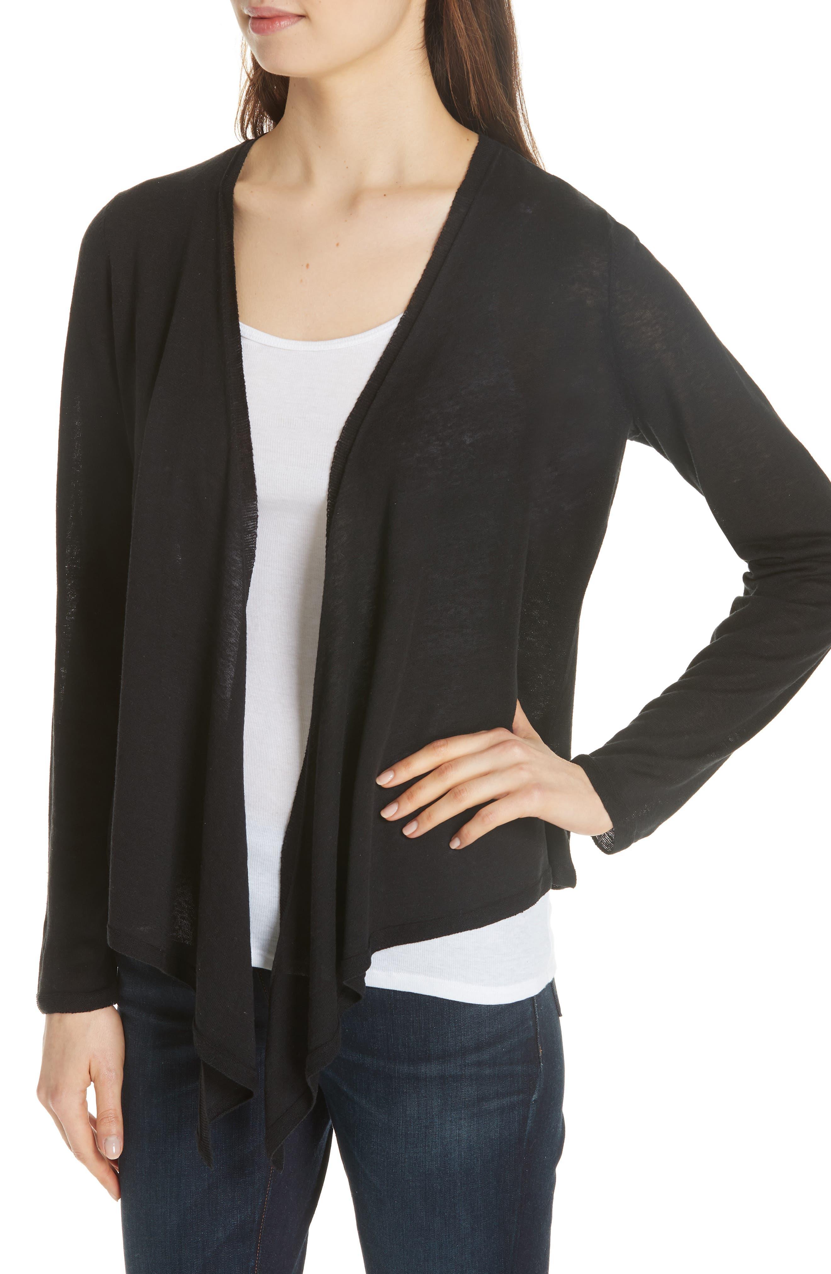 Angle Front Silk Blend Cardigan,                             Alternate thumbnail 4, color,                             Black