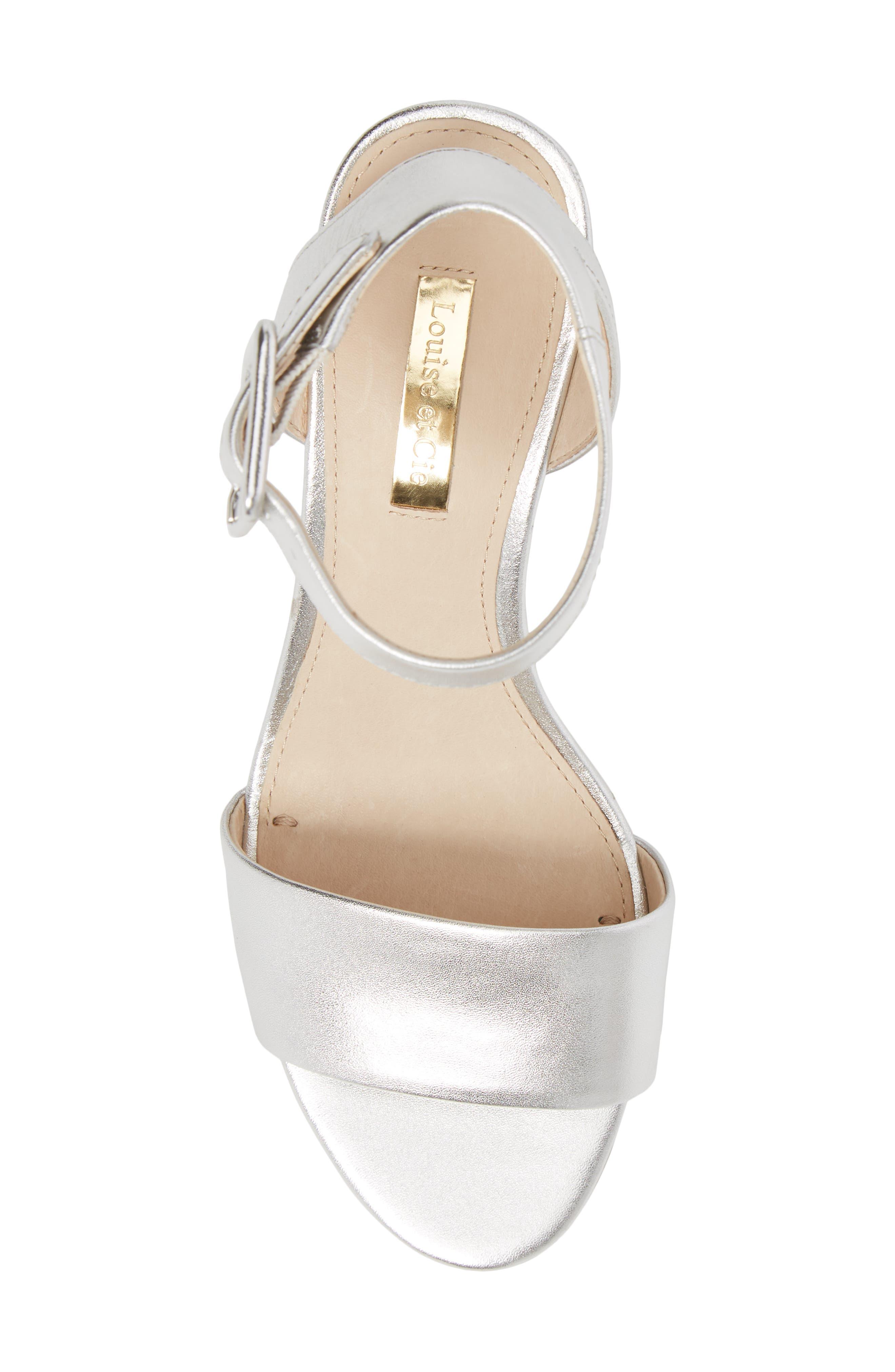 Punya Wedge Sandal,                             Alternate thumbnail 5, color,                             Metallic Silver Leather