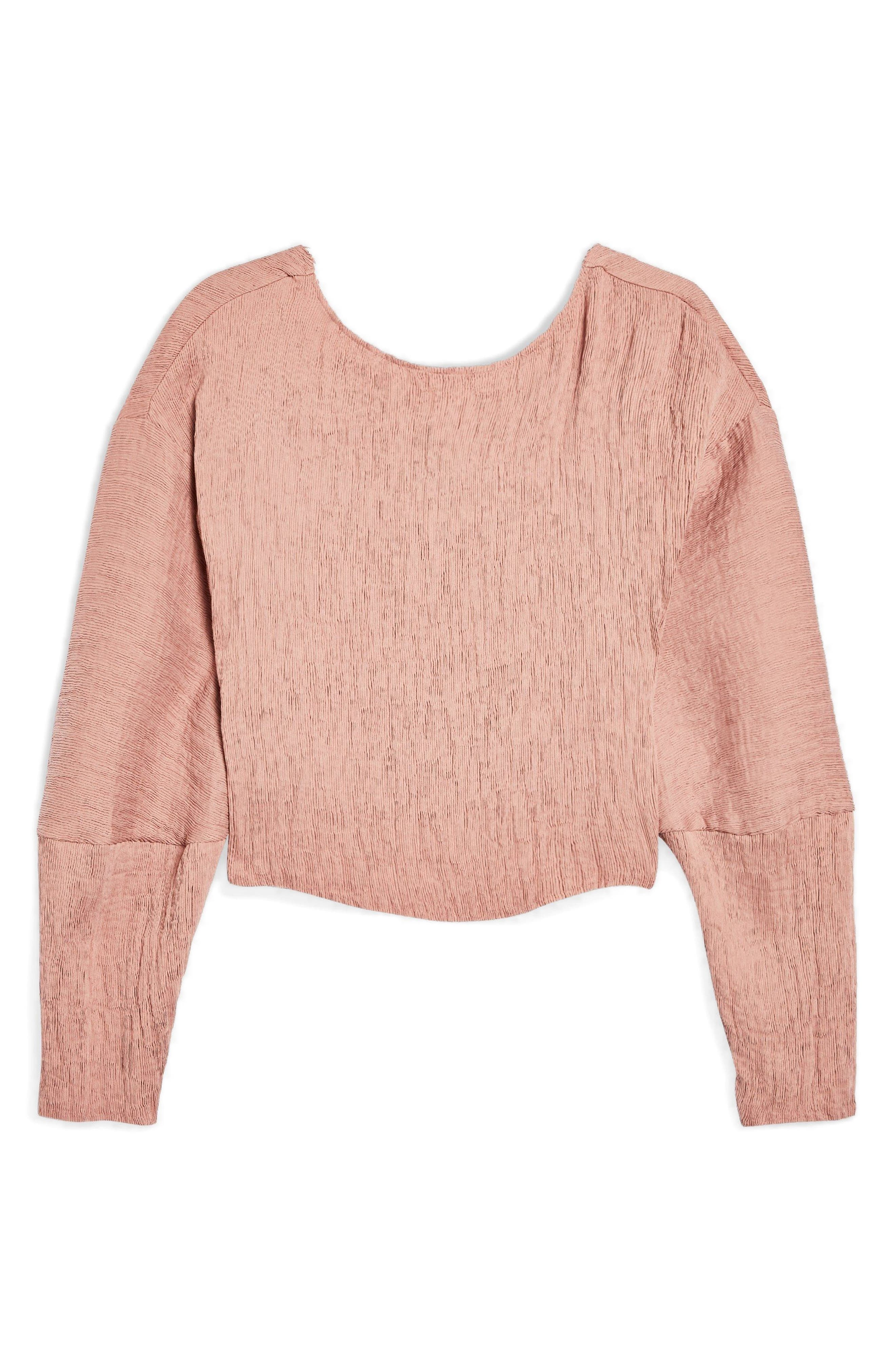 Textured Crinkle Top,                             Alternate thumbnail 4, color,                             Rose