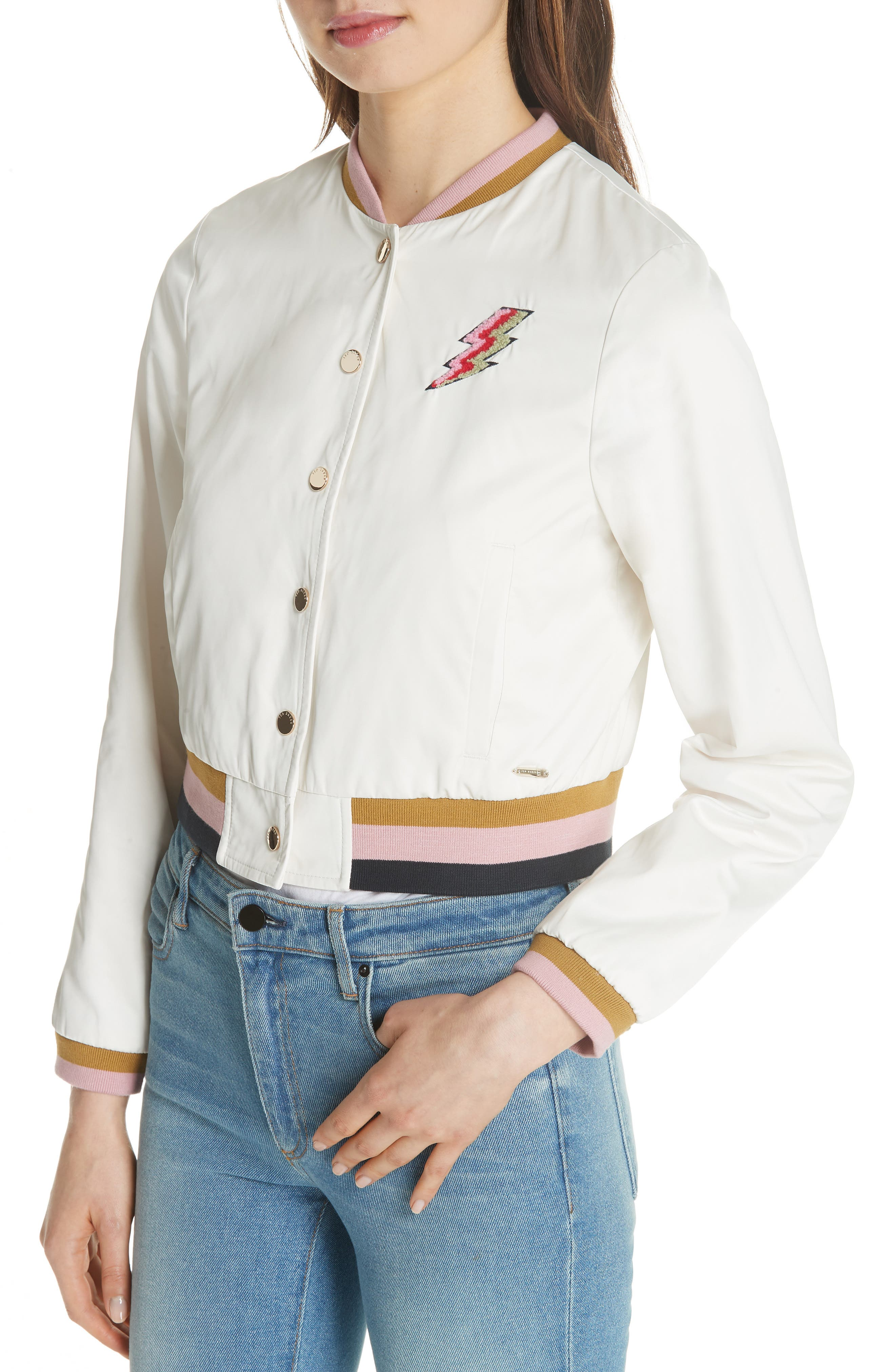 Colour by Numbers Bomber Jacket,                             Alternate thumbnail 4, color,                             Ivory