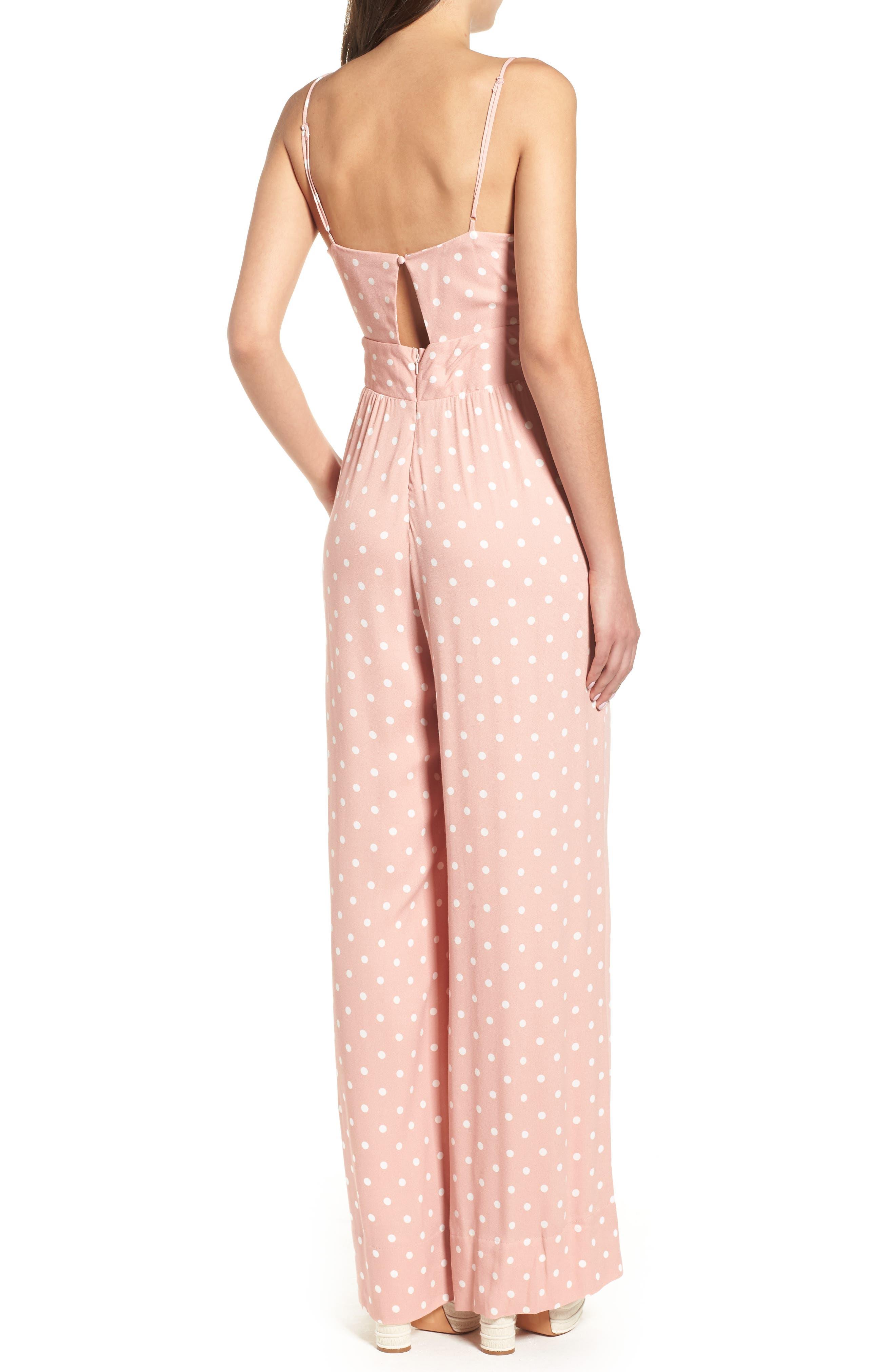 Milan Tie Front Jumpsuit,                             Alternate thumbnail 2, color,                             Misty Rose Polka Dot