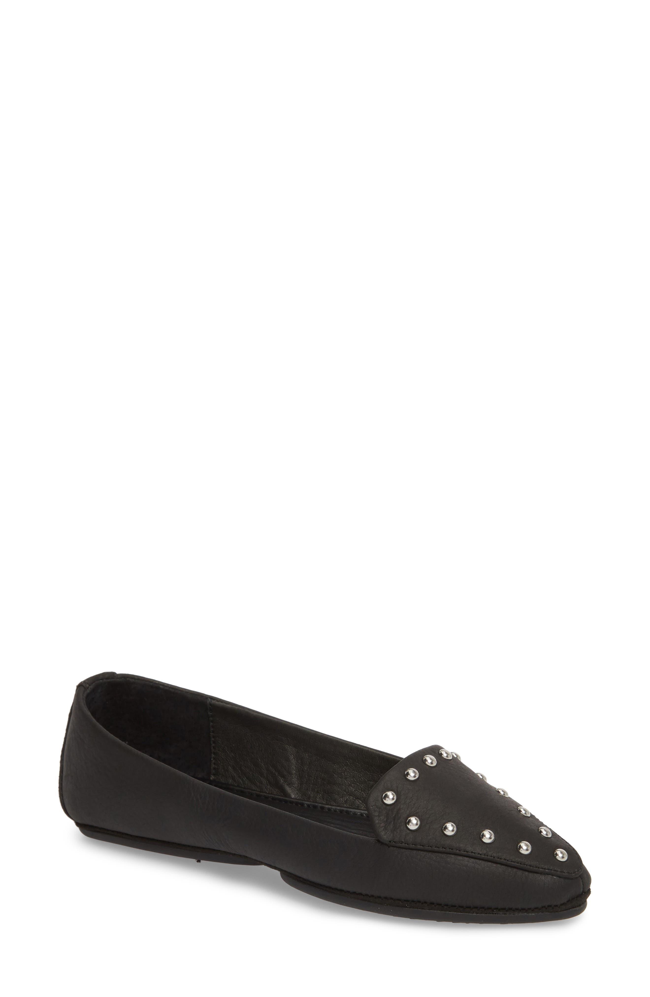 Vera Loafer,                             Main thumbnail 1, color,                             Black Stud Leather