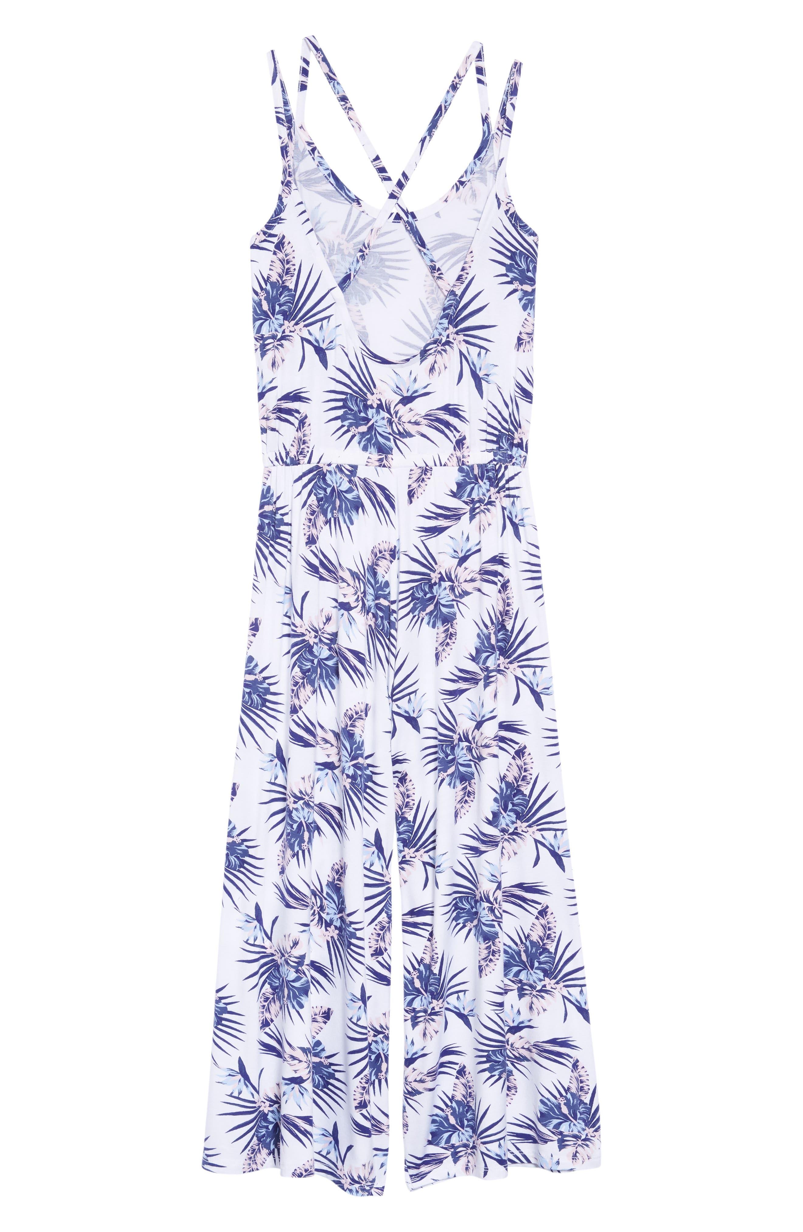 Floral Print Jumpsuit,                             Alternate thumbnail 2, color,                             White- Blue Tropical