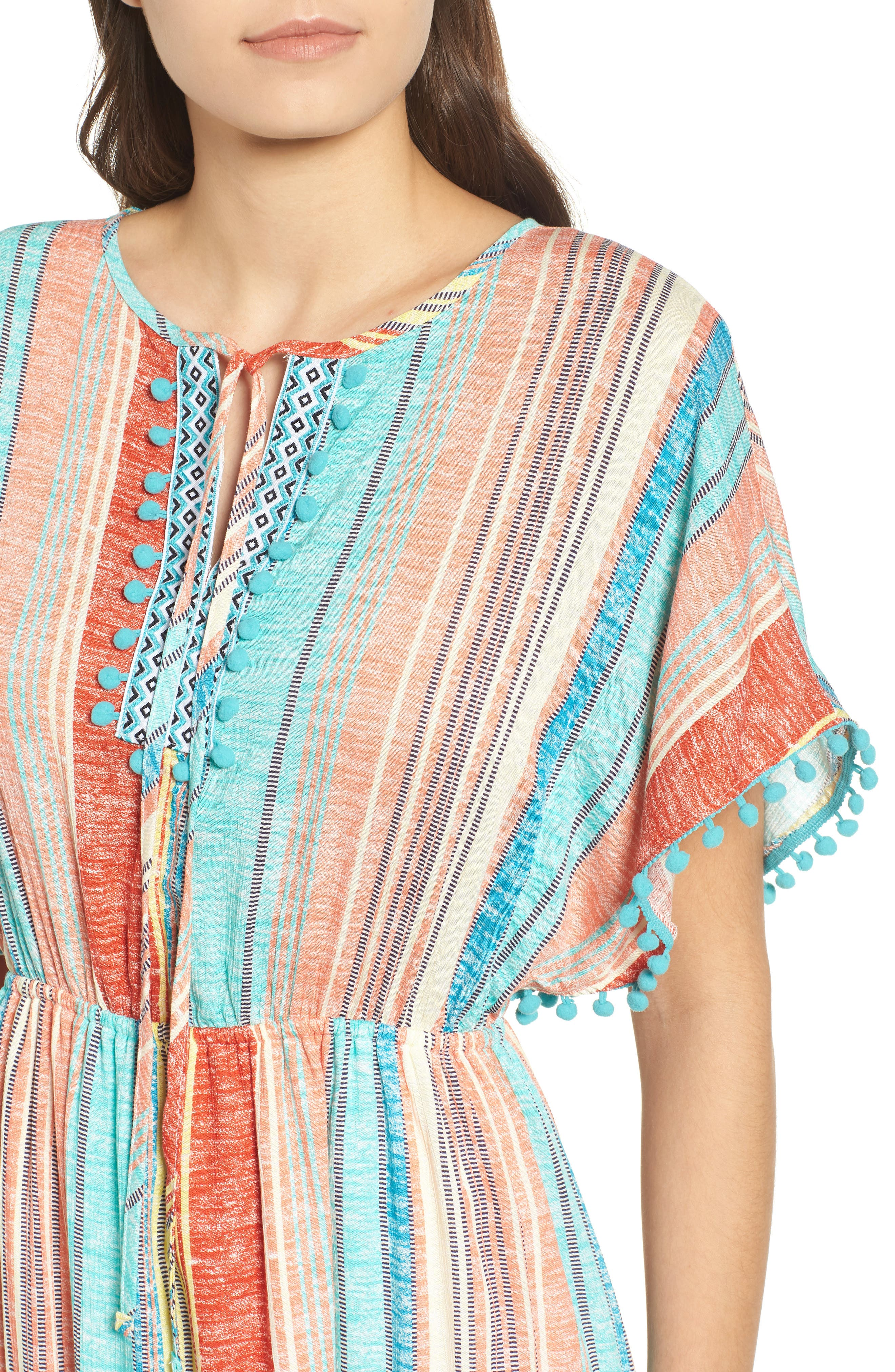 Stripe Pompom Trim Caftan,                             Alternate thumbnail 4, color,                             Coral Stripe
