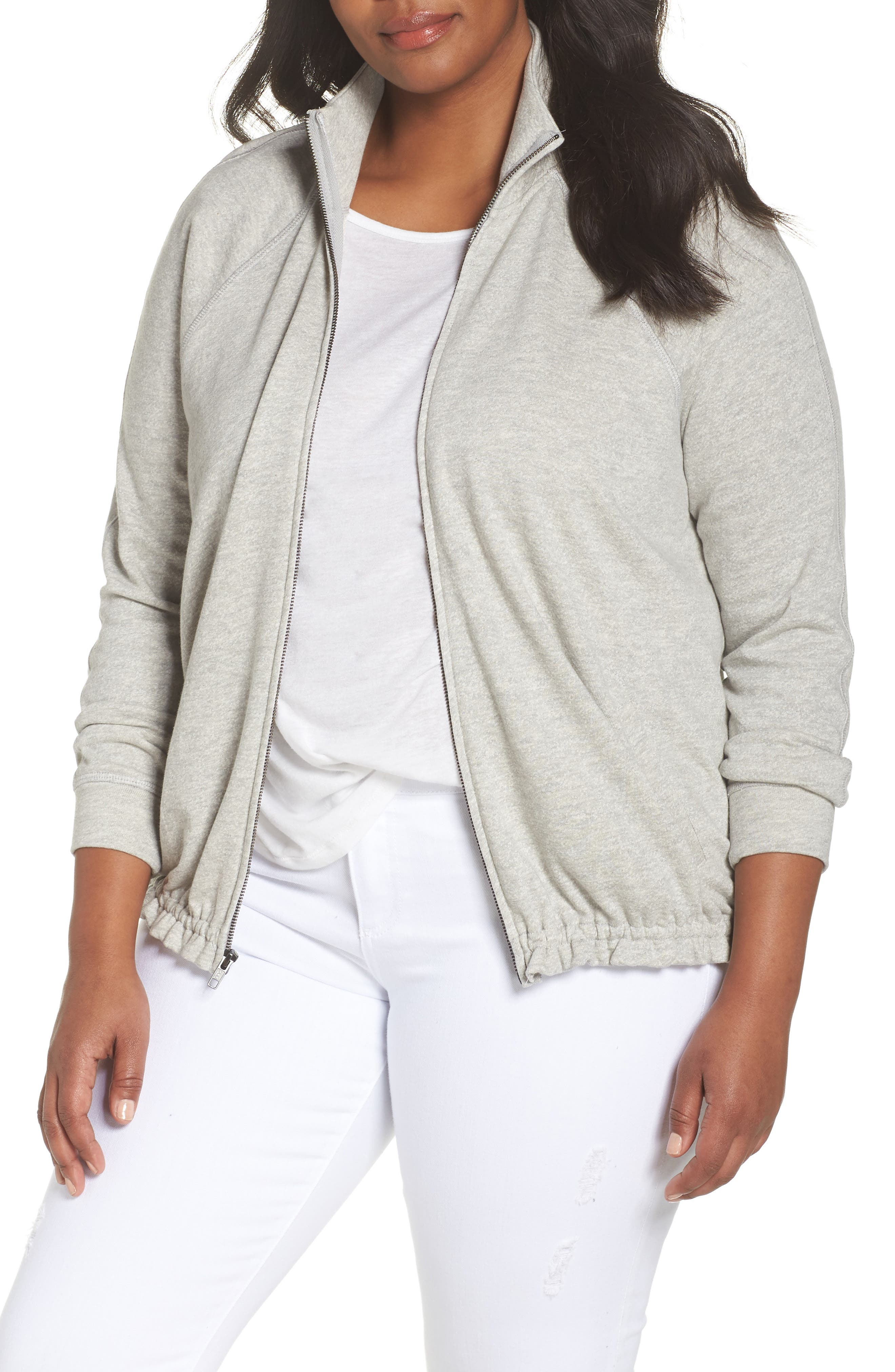 Off-Duty Knit Track Jacket,                             Main thumbnail 1, color,                             Grey Heather