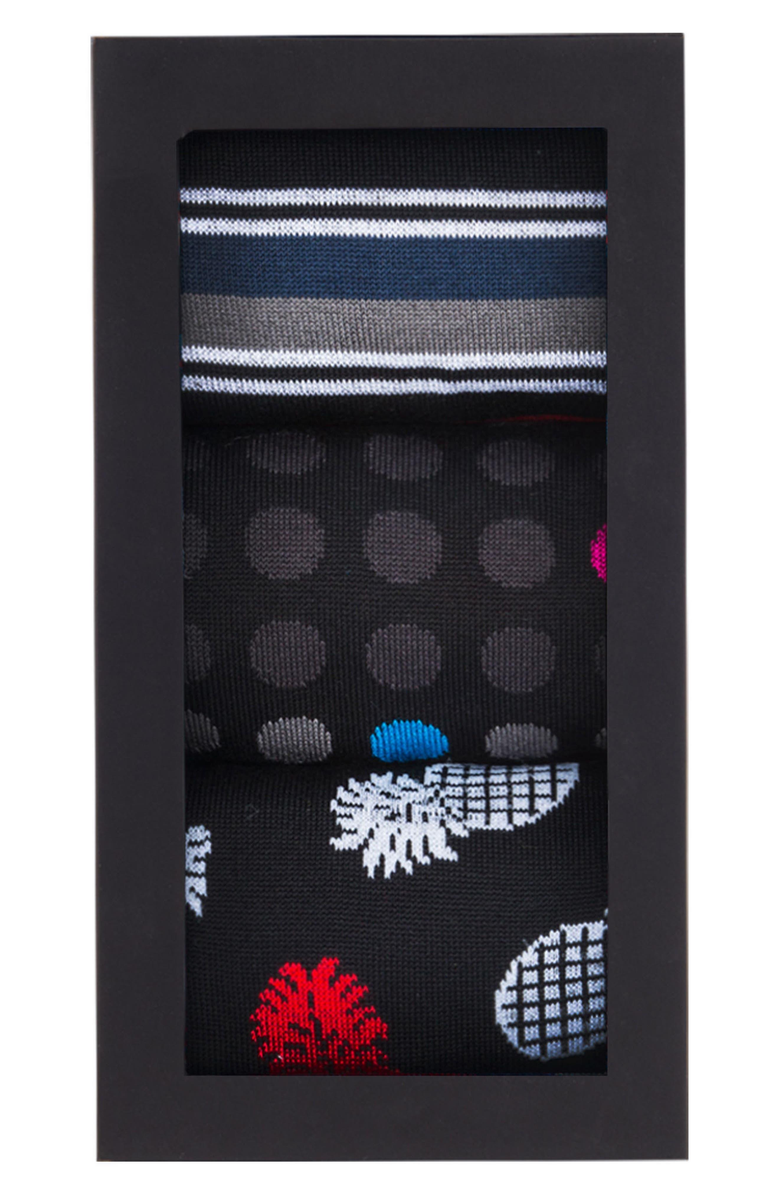 Assorted 3-Pack Mercerized Cotton Blend Sock Gift Set,                             Alternate thumbnail 3, color,                             Black