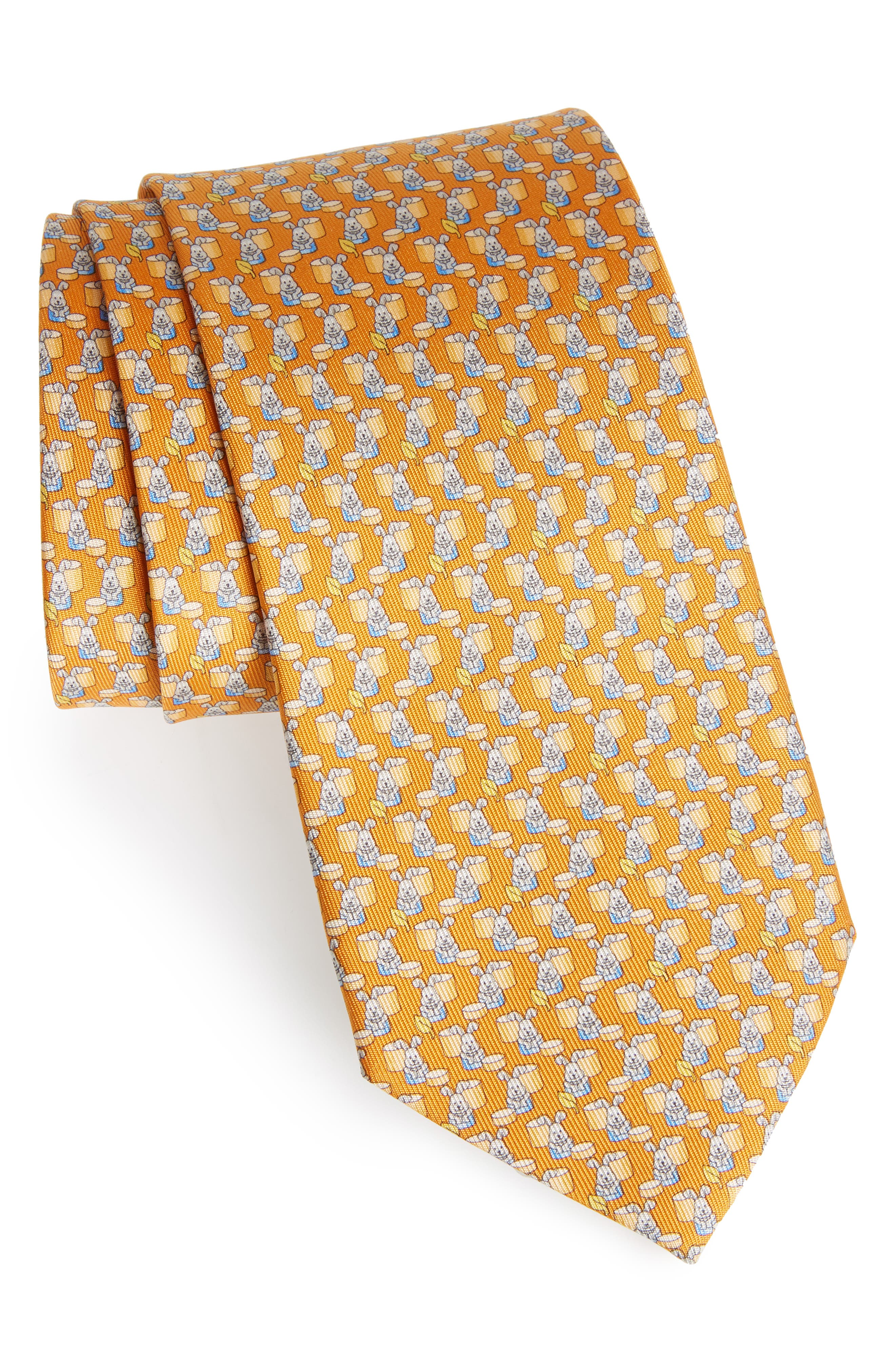 Bunny Print Silk Tie,                             Main thumbnail 1, color,                             Orange