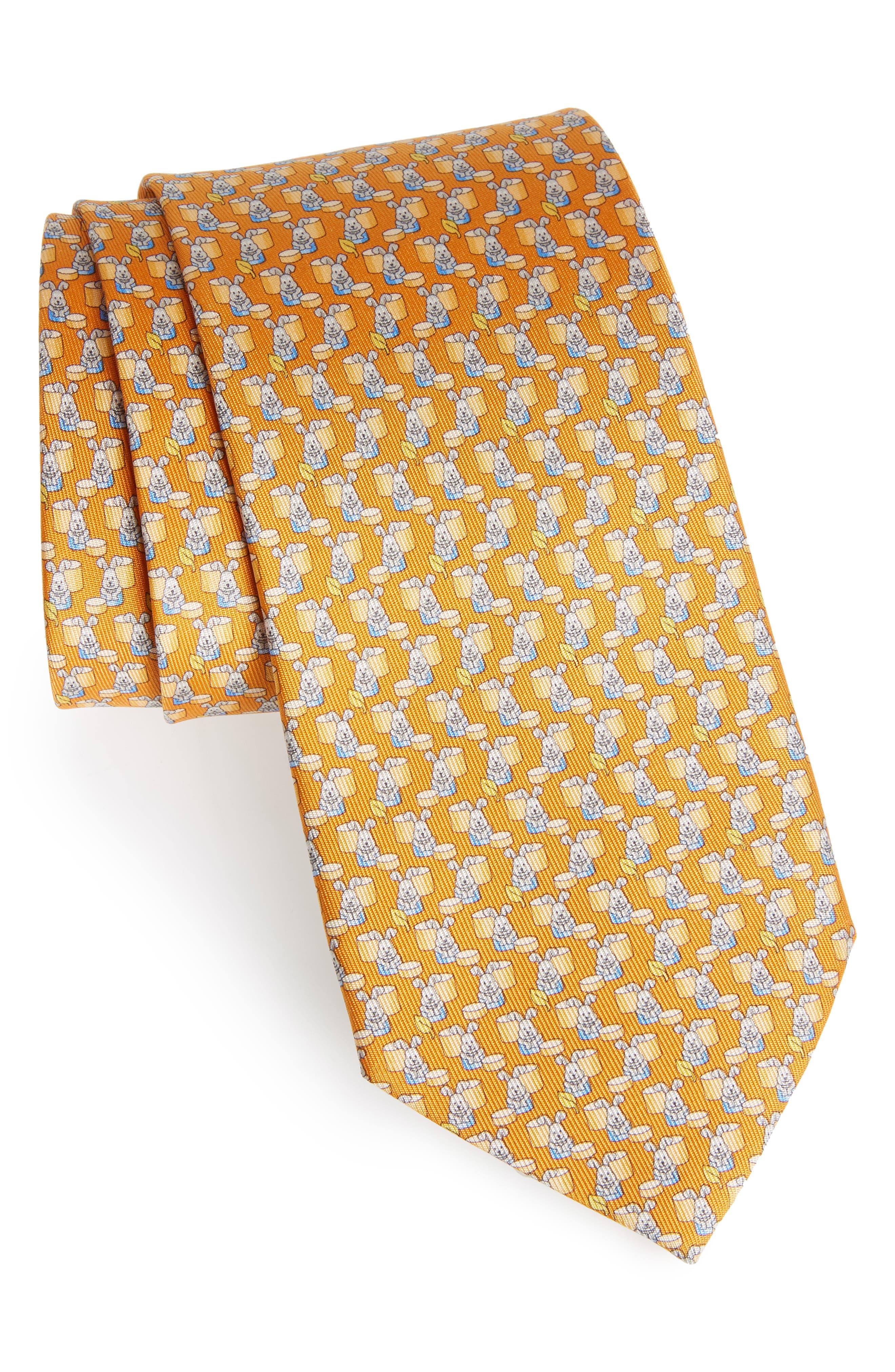 Bunny Print Silk Tie,                         Main,                         color, Orange