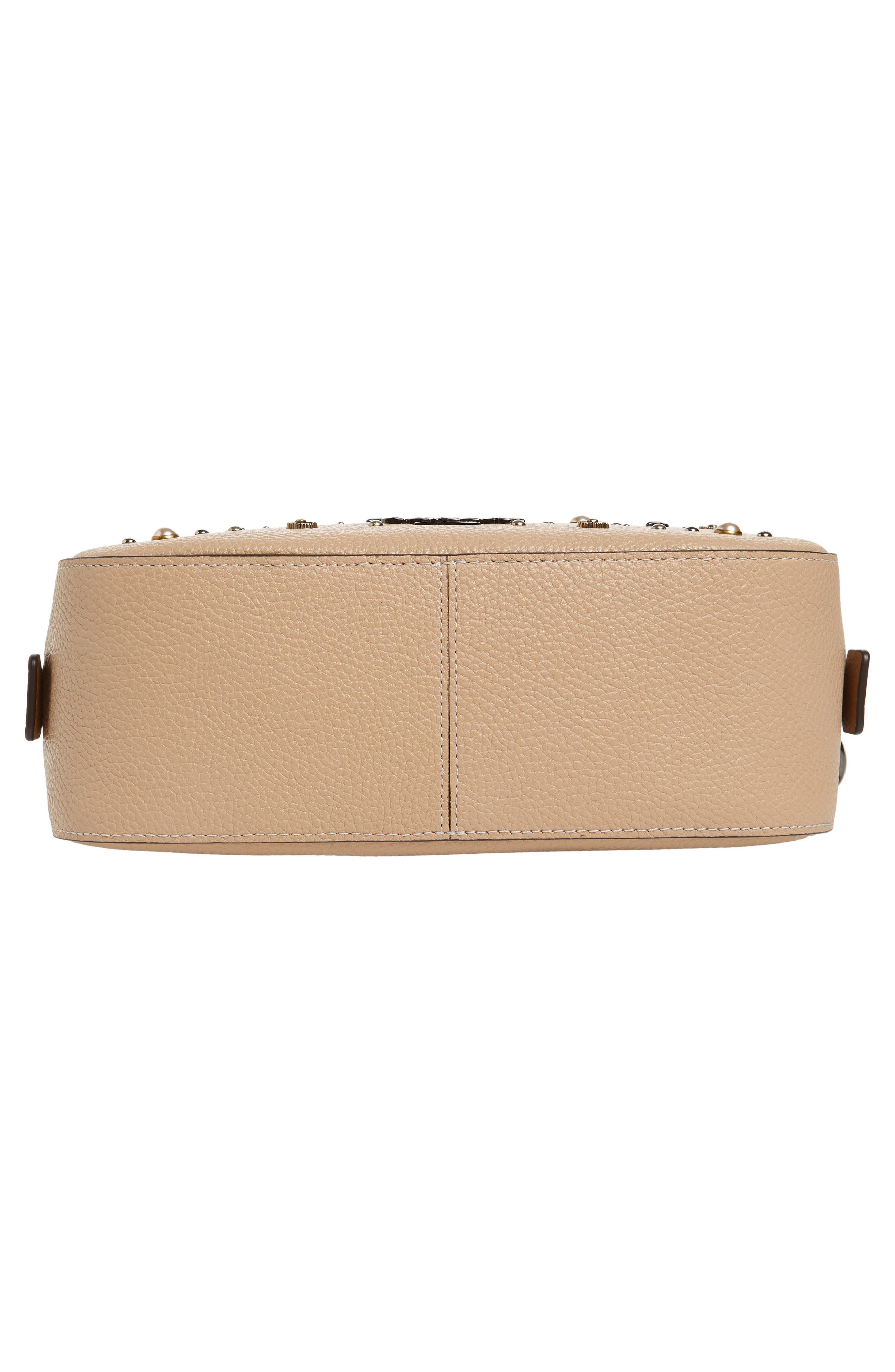 Studded Leather Camera Bag,                             Alternate thumbnail 6, color,                             Beechwood
