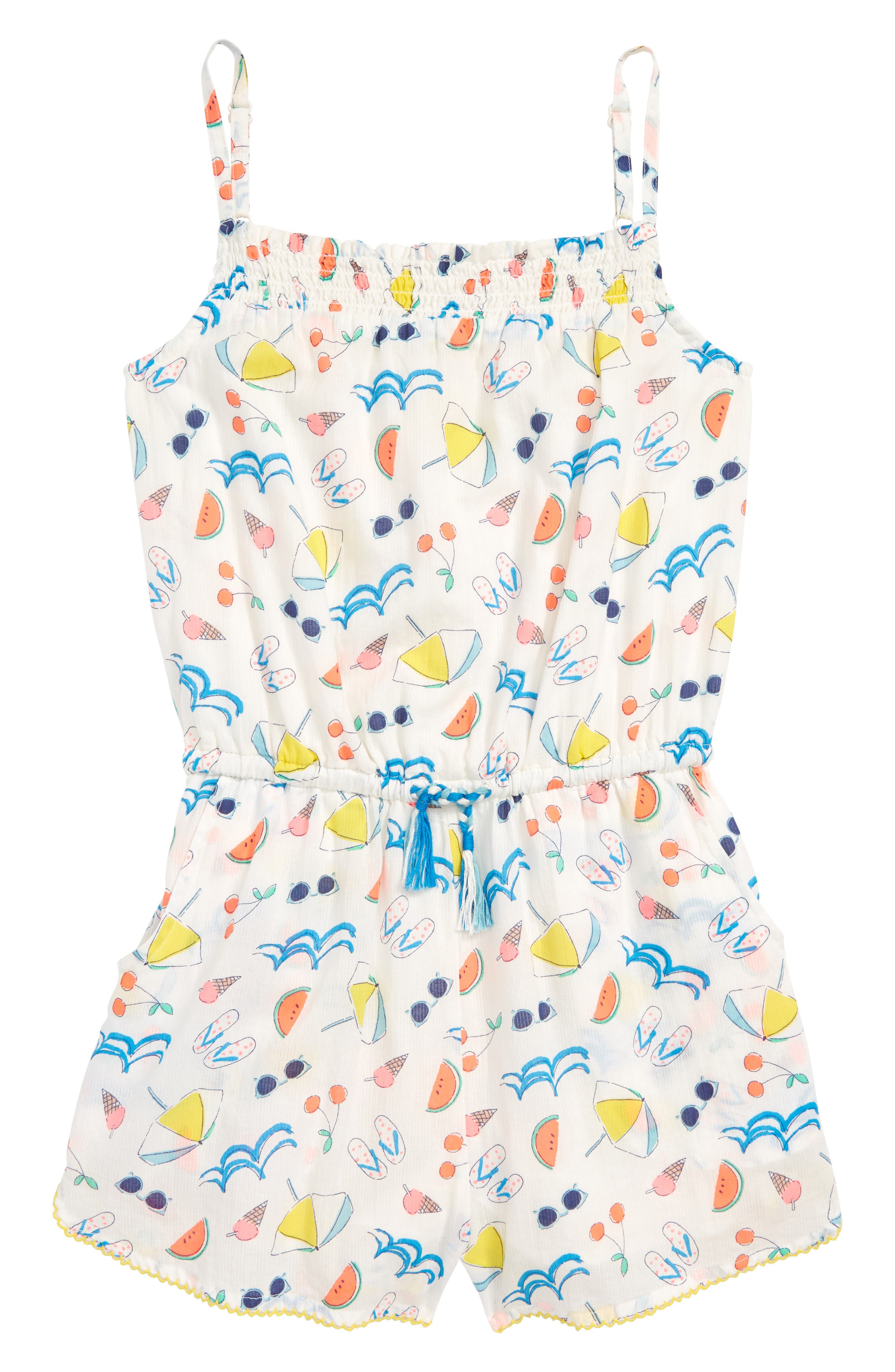 Strappy Woven Romper,                             Main thumbnail 1, color,                             Ivory Holiday Print
