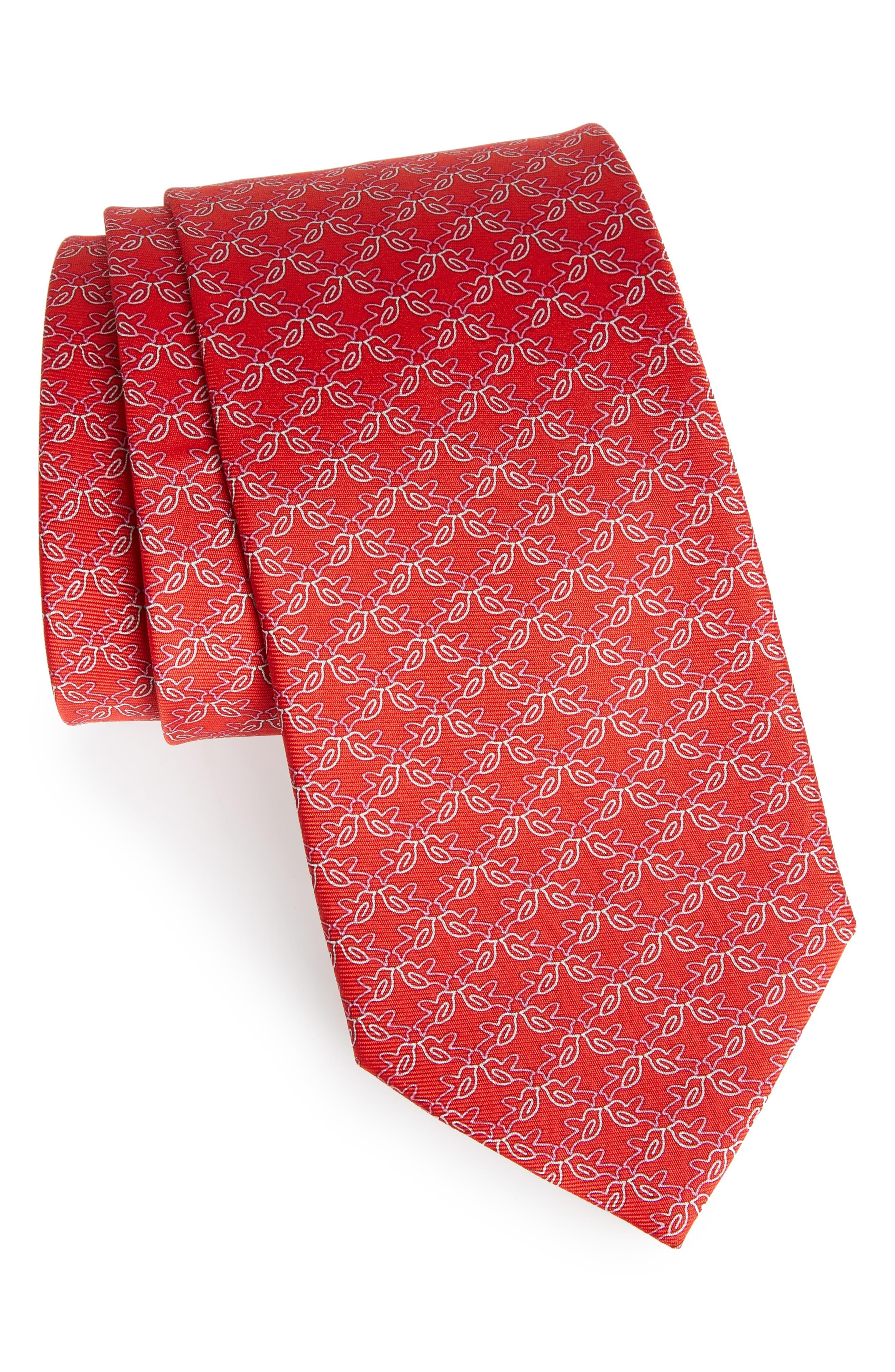 Bird Print Silk Tie,                             Main thumbnail 1, color,                             Red