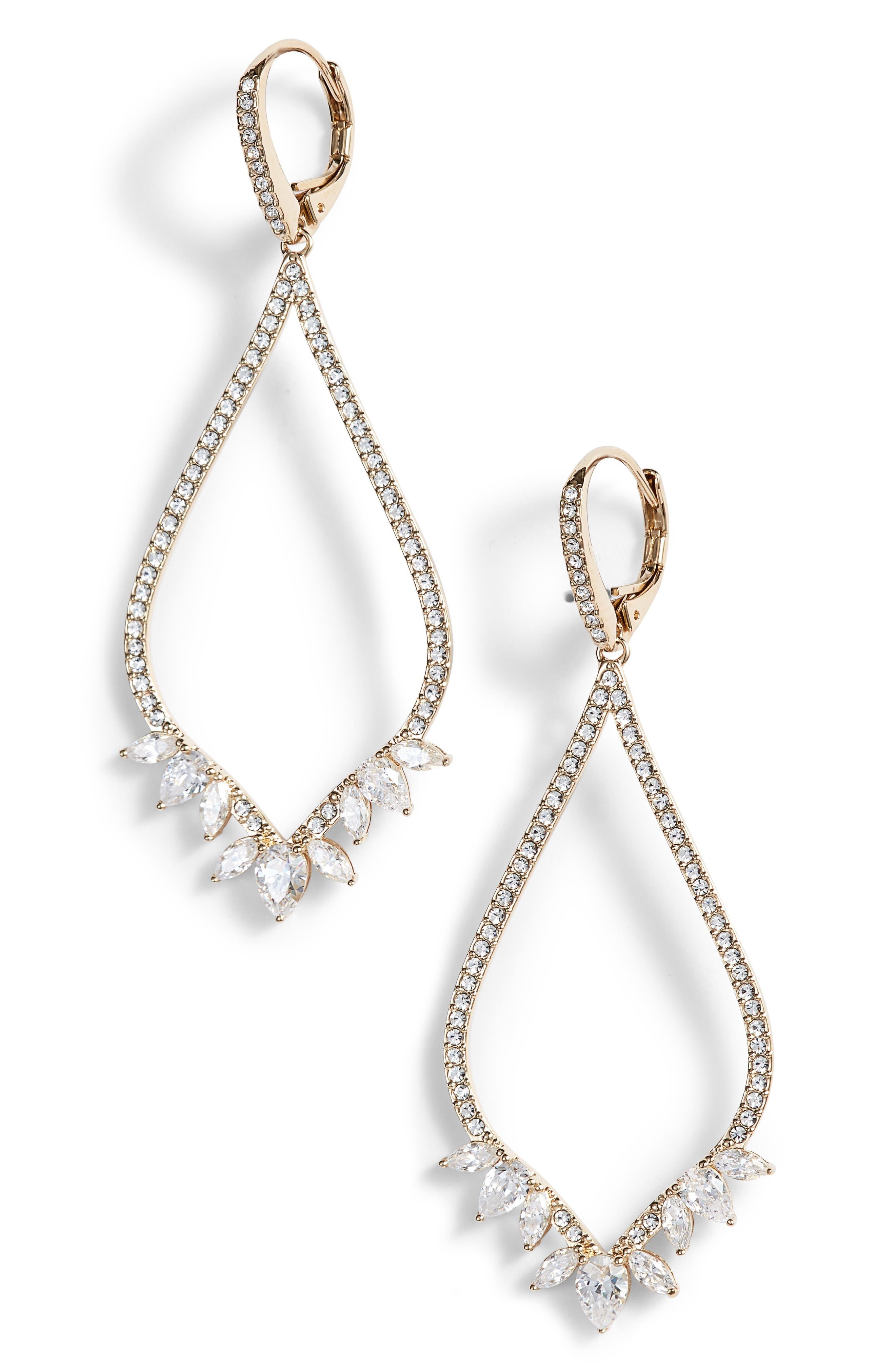 Open Drop Earrings,                         Main,                         color, Gold