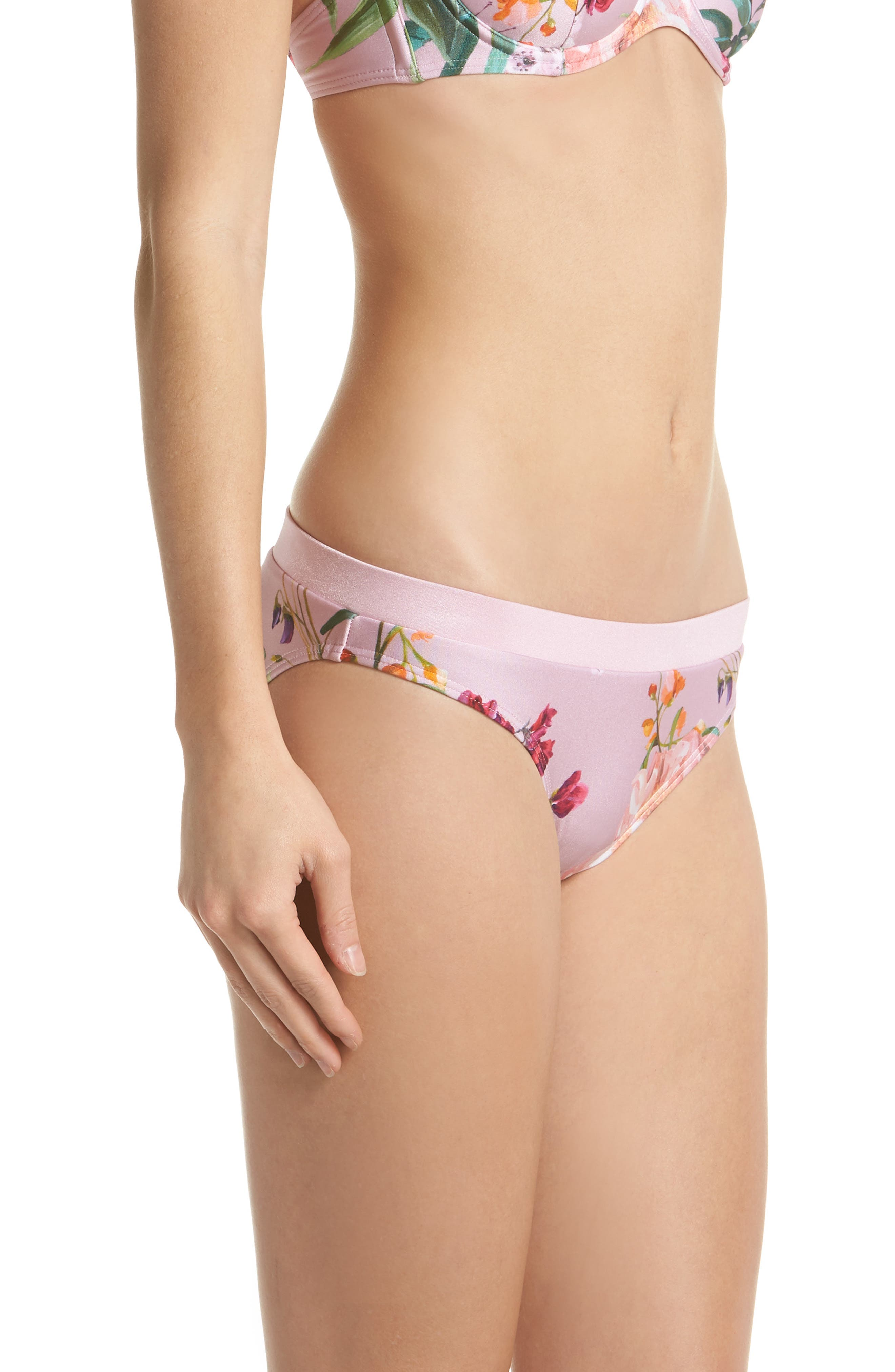Serenity Floral Bikini Bottoms,                             Alternate thumbnail 3, color,                             Pale Pink