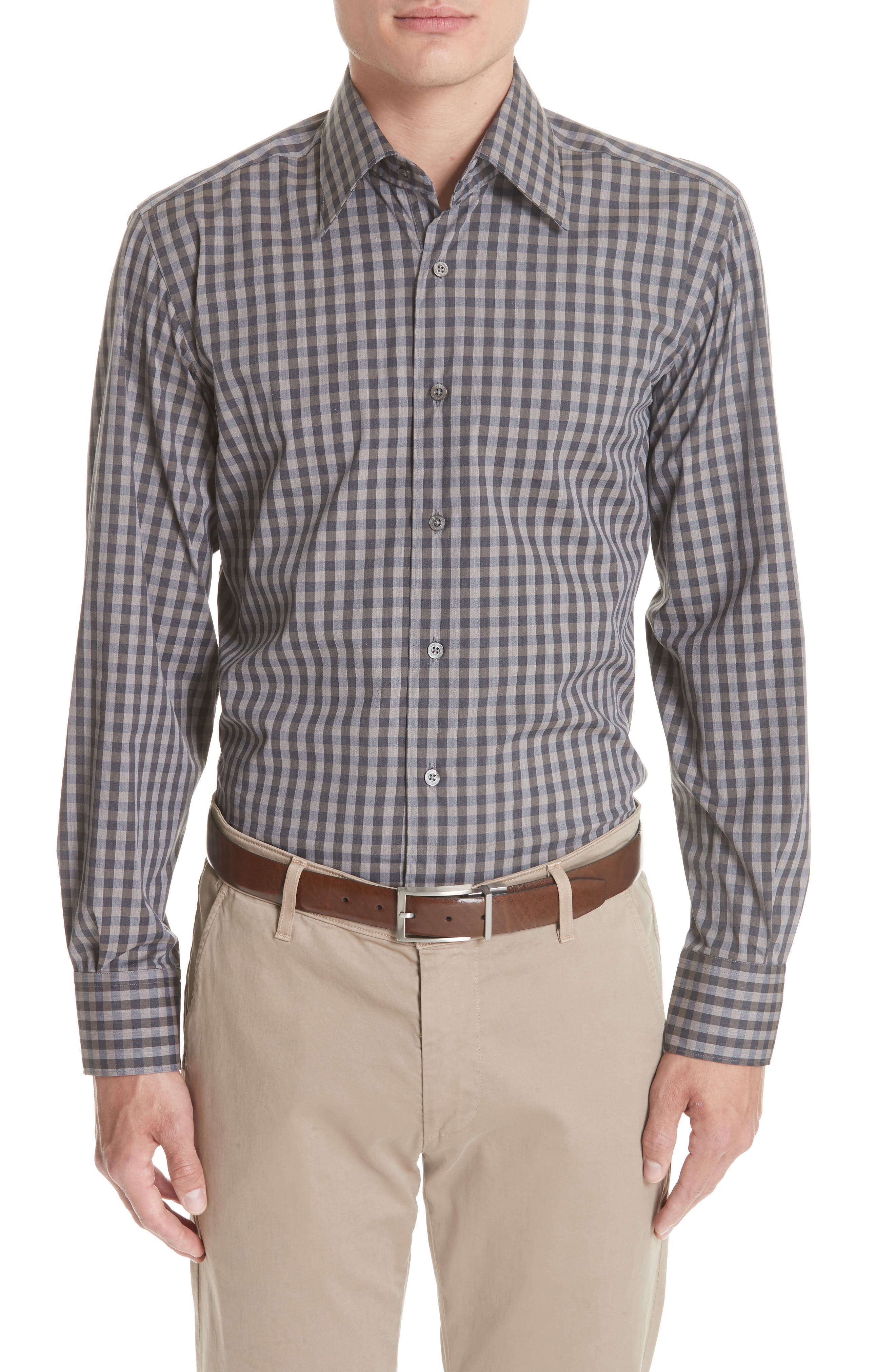 Regular Fit Stretch Check Sport Shirt,                         Main,                         color, Brown
