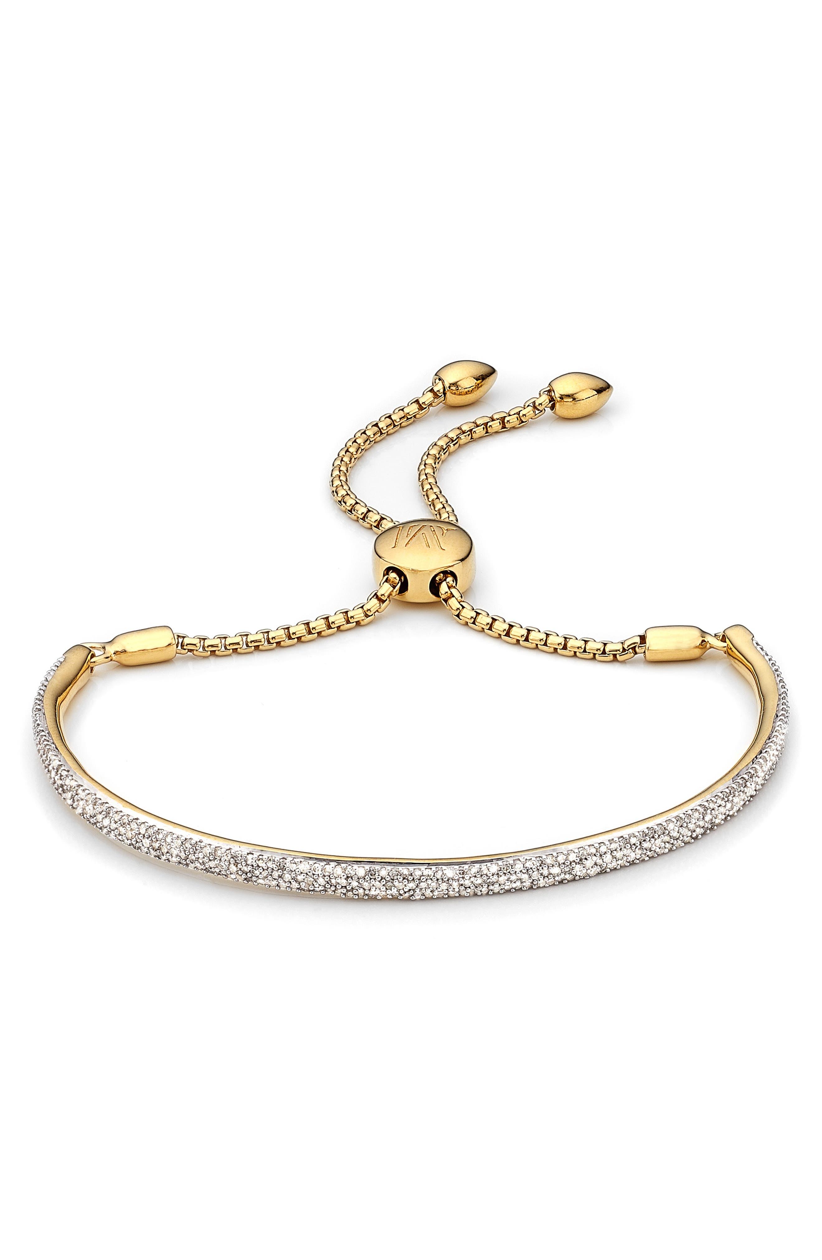 Fiji Diamond Pavé Toggle Petite Bracelet,                         Main,                         color, Yellow Gold