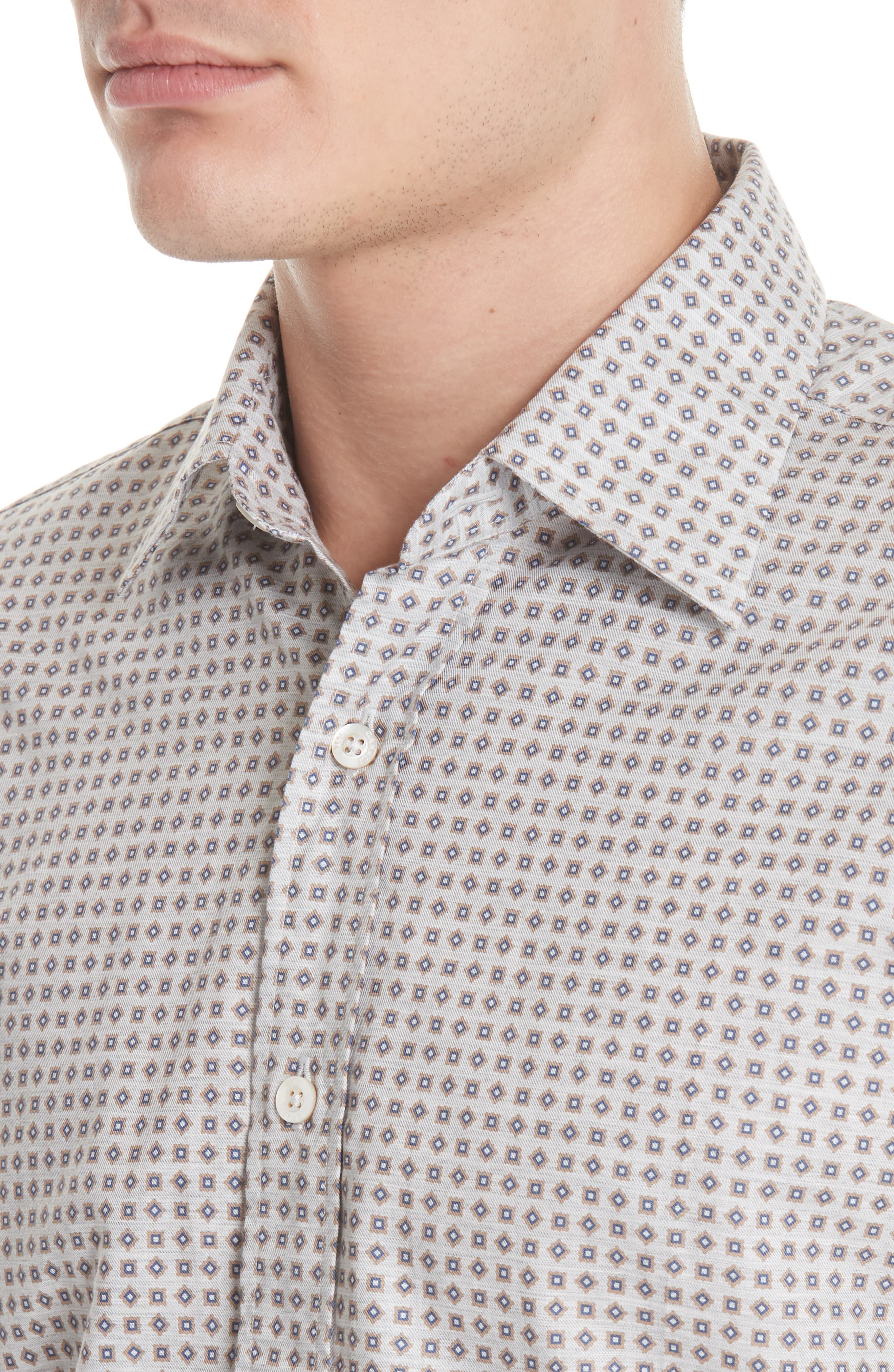 Regular Fit Print Sport Shirt,                             Alternate thumbnail 2, color,                             Beige