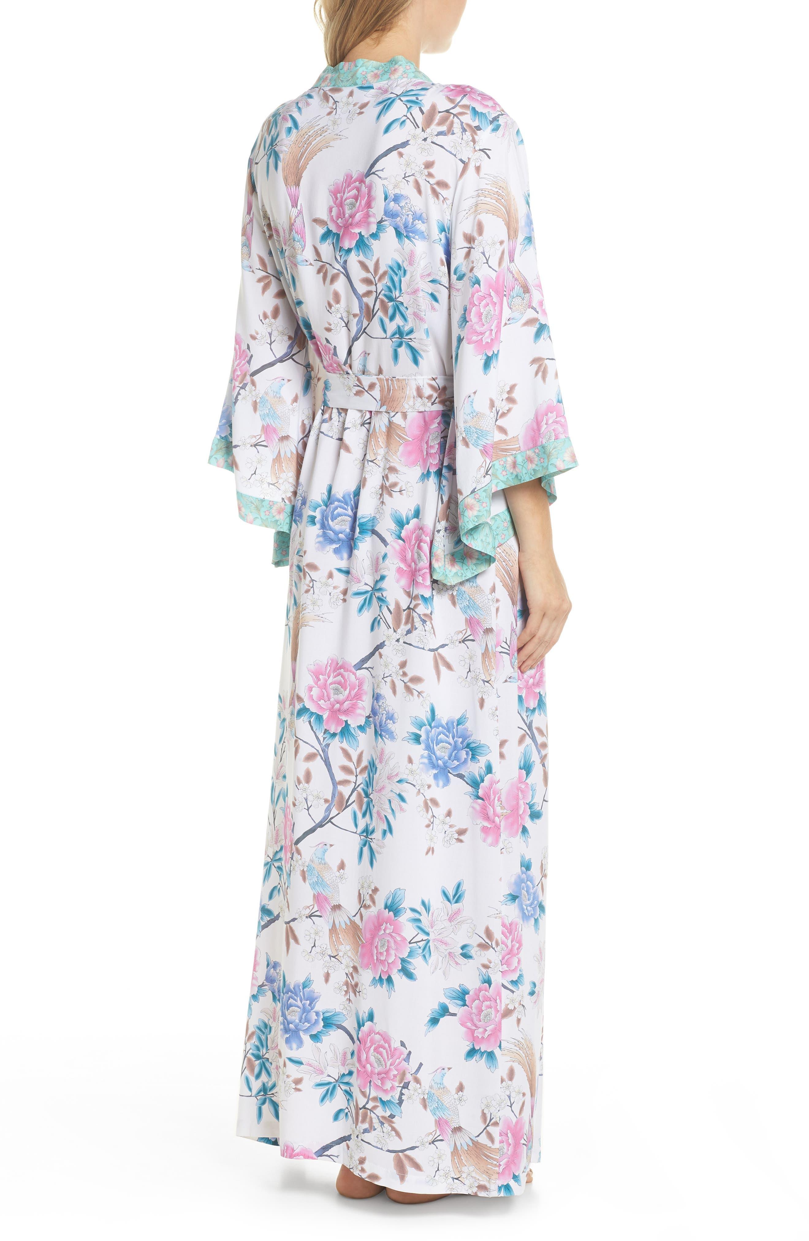 Talulah Boho Long Robe,                             Alternate thumbnail 2, color,                             Ivory Floral