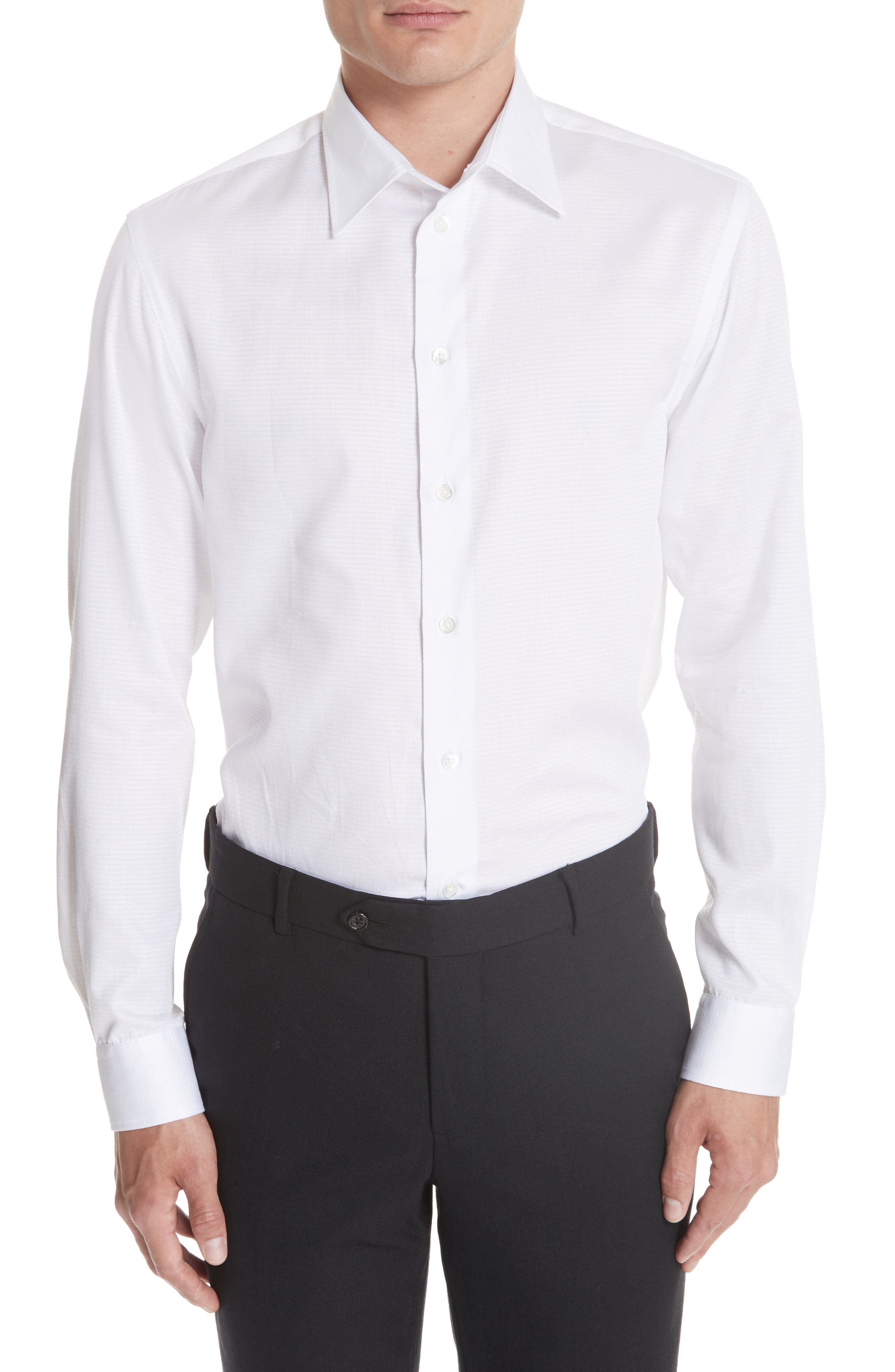Slim Fit Solid Dress Shirt,                         Main,                         color, White