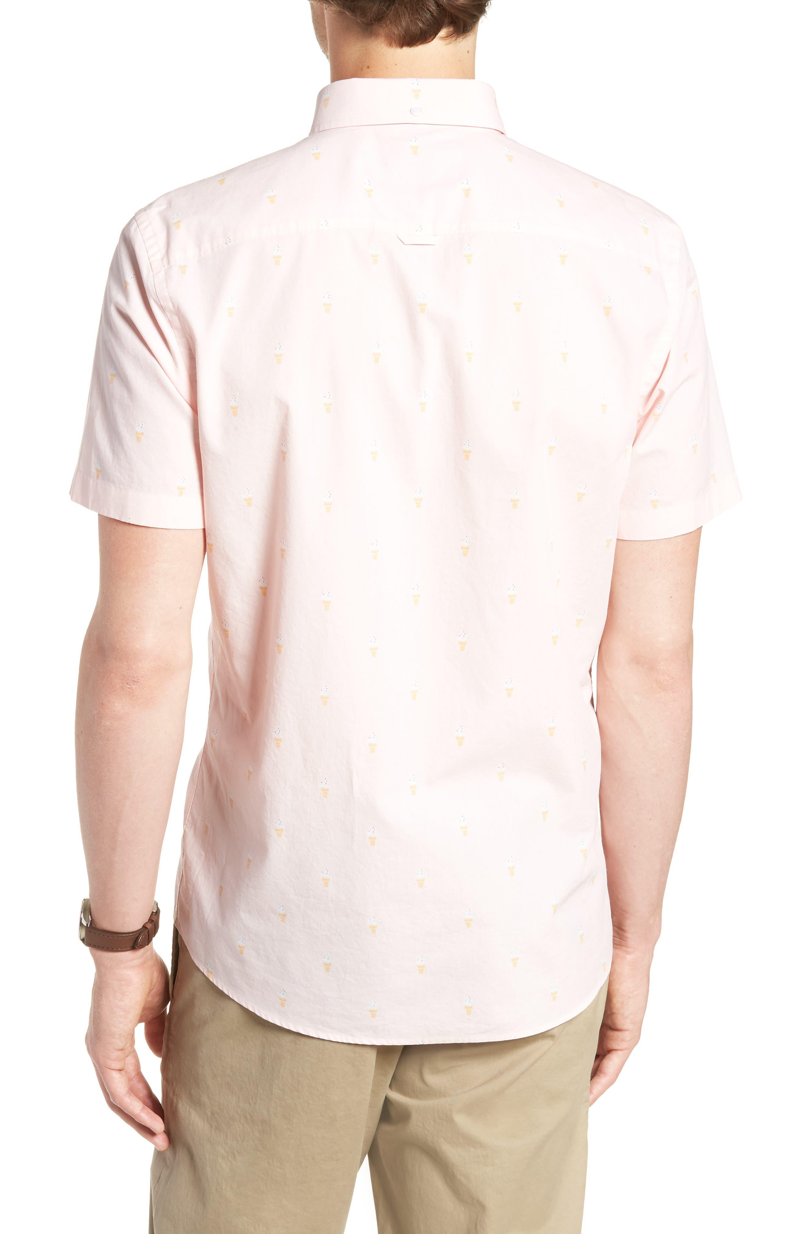 Trim Fit Print Short Sleeve Sport Shirt,                             Alternate thumbnail 3, color,                             Pink Breathe Ice Cream Cones