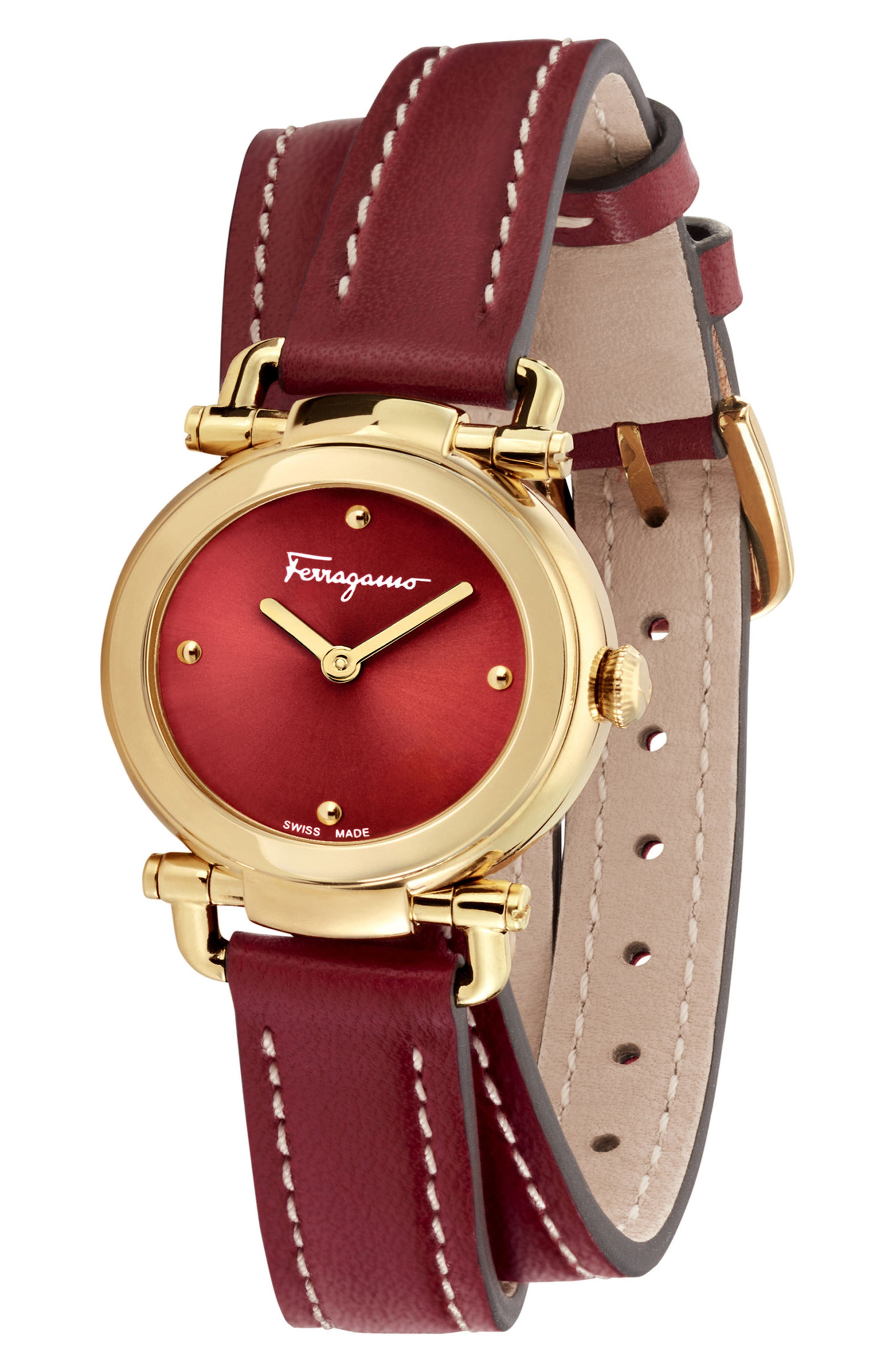 Gancino Leather Strap Watch, 26mm,                             Alternate thumbnail 4, color,                             Red/ Gold
