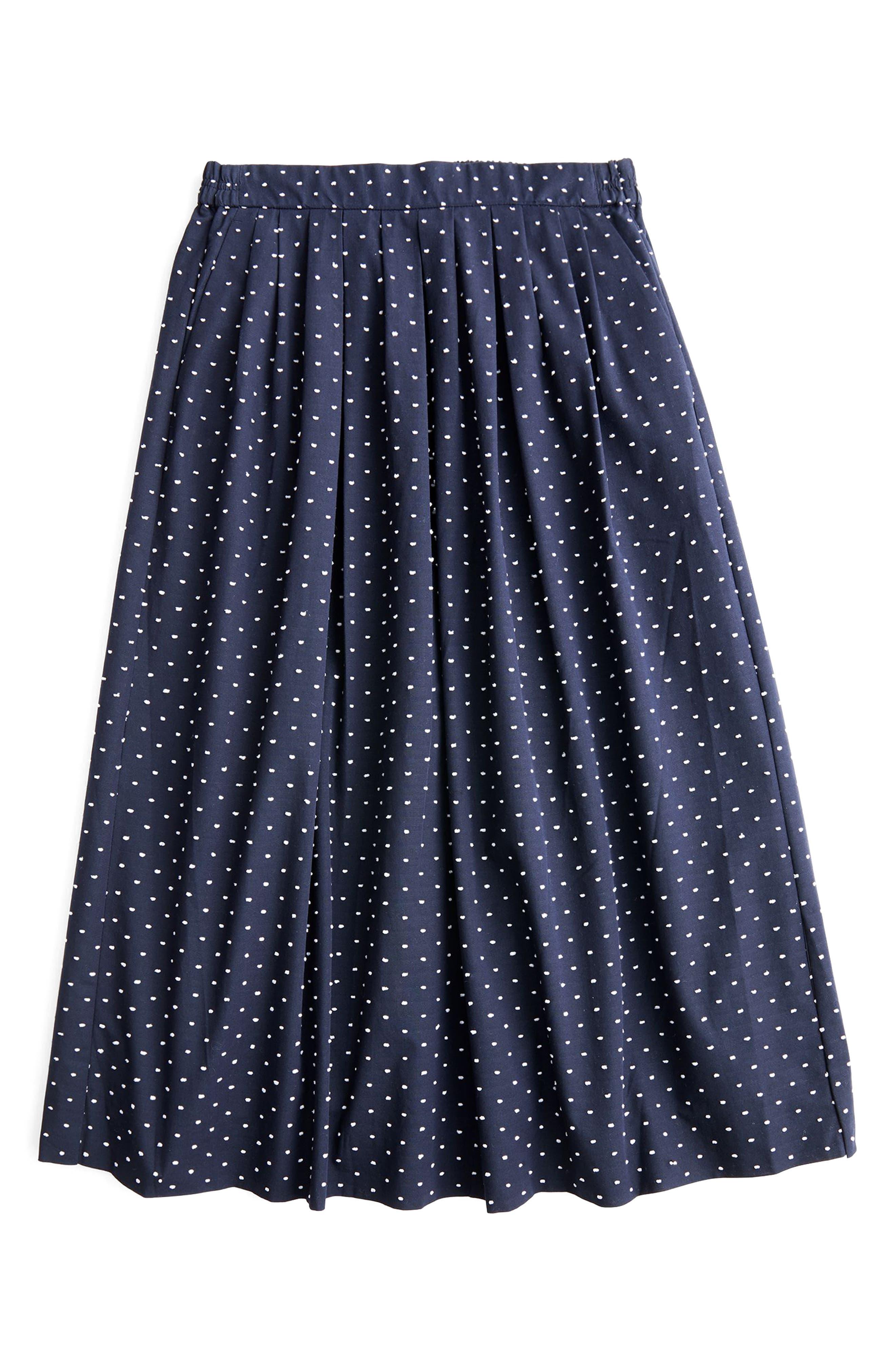 Vintage Clip Dot Midi Skirt,                             Alternate thumbnail 4, color,                             Navy White