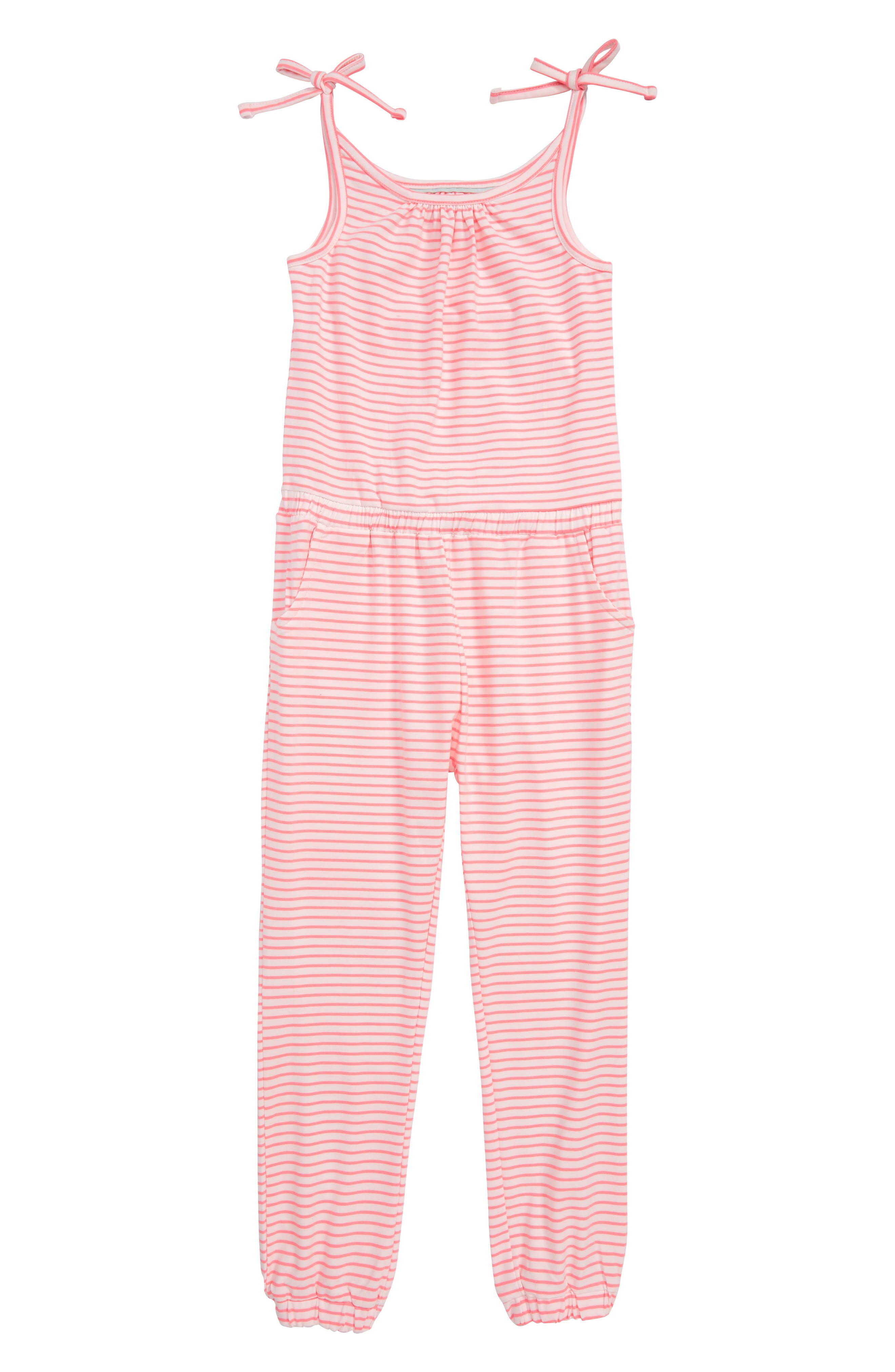 Jersey Jumpsuit,                         Main,                         color, Pnkivory/ Knockout Pink Stripe