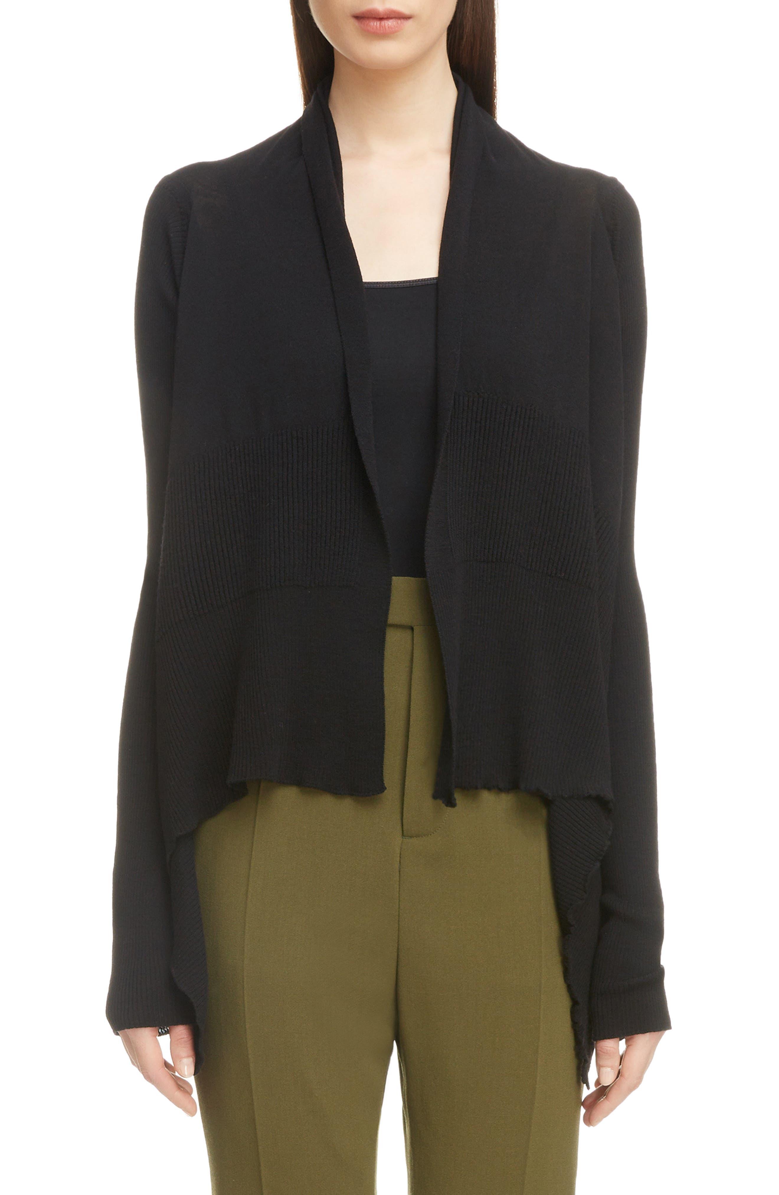 Merino Wool Drape Cardigan,                             Main thumbnail 1, color,                             Black