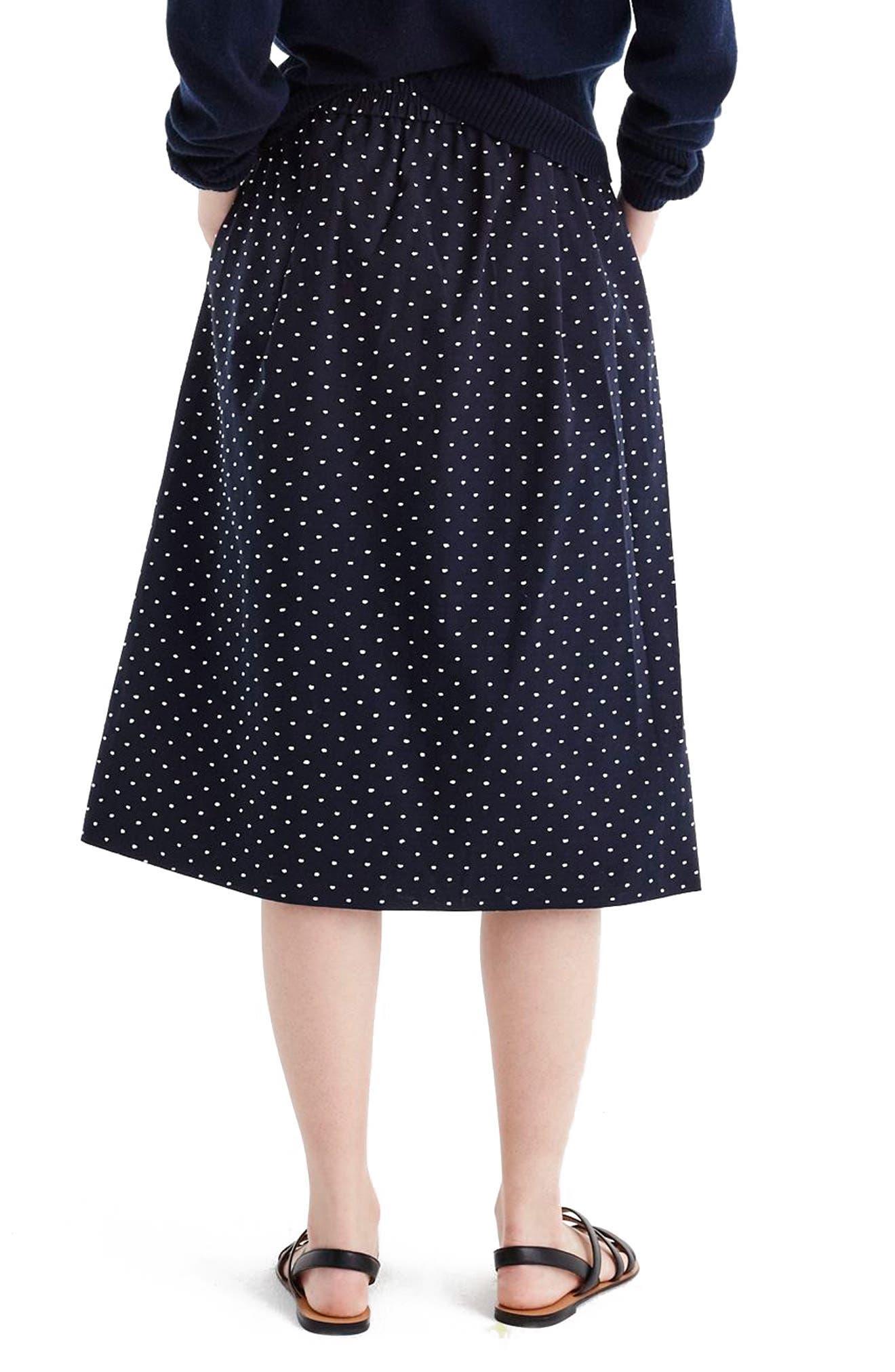 Vintage Clip Dot Midi Skirt,                             Alternate thumbnail 2, color,                             Navy White
