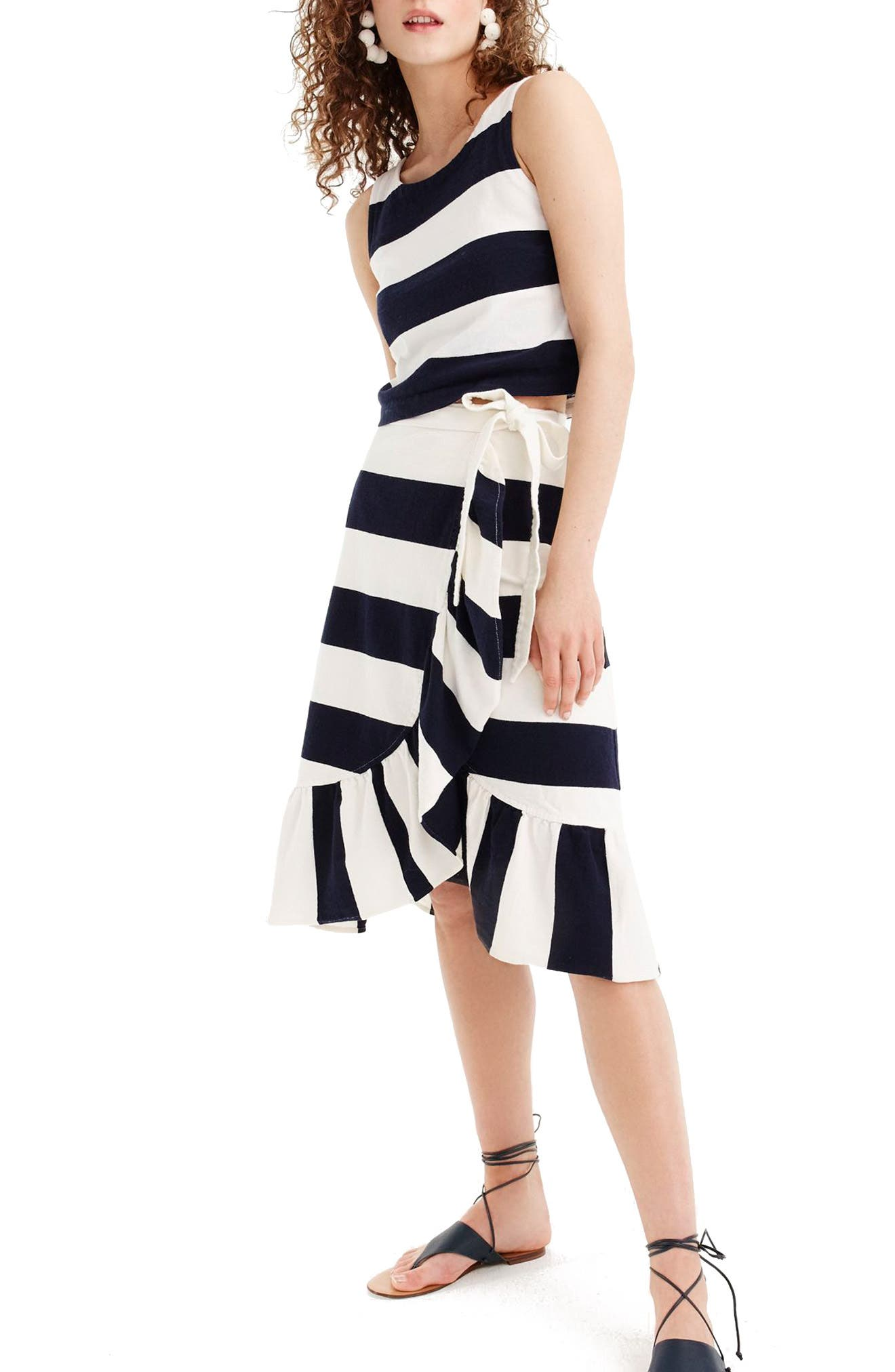 Rugby Knit Wrap Skirt,                         Main,                         color, Navy Ivory