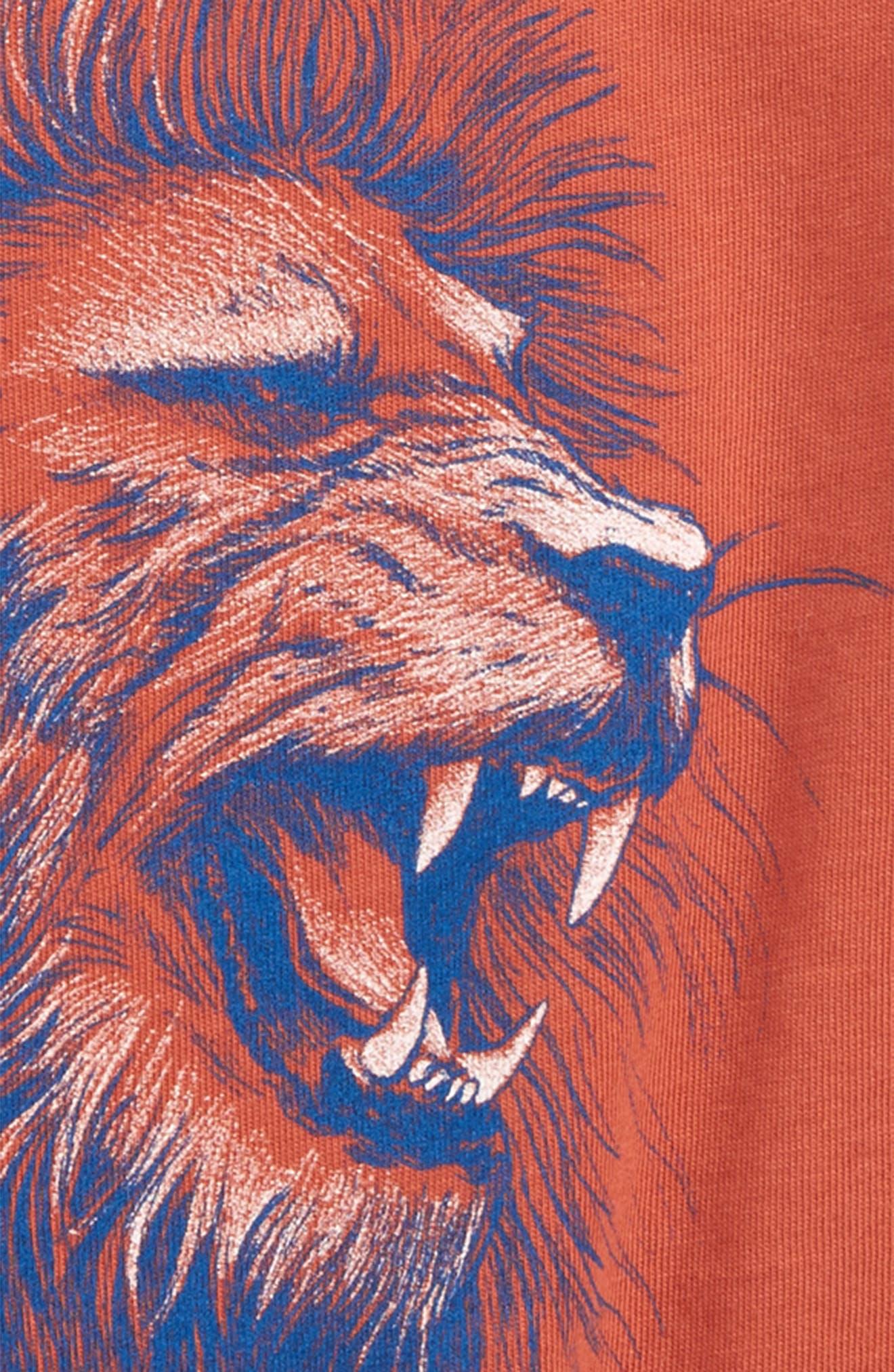 Lion Graphic T-Shirt,                             Alternate thumbnail 3, color,                             Rust