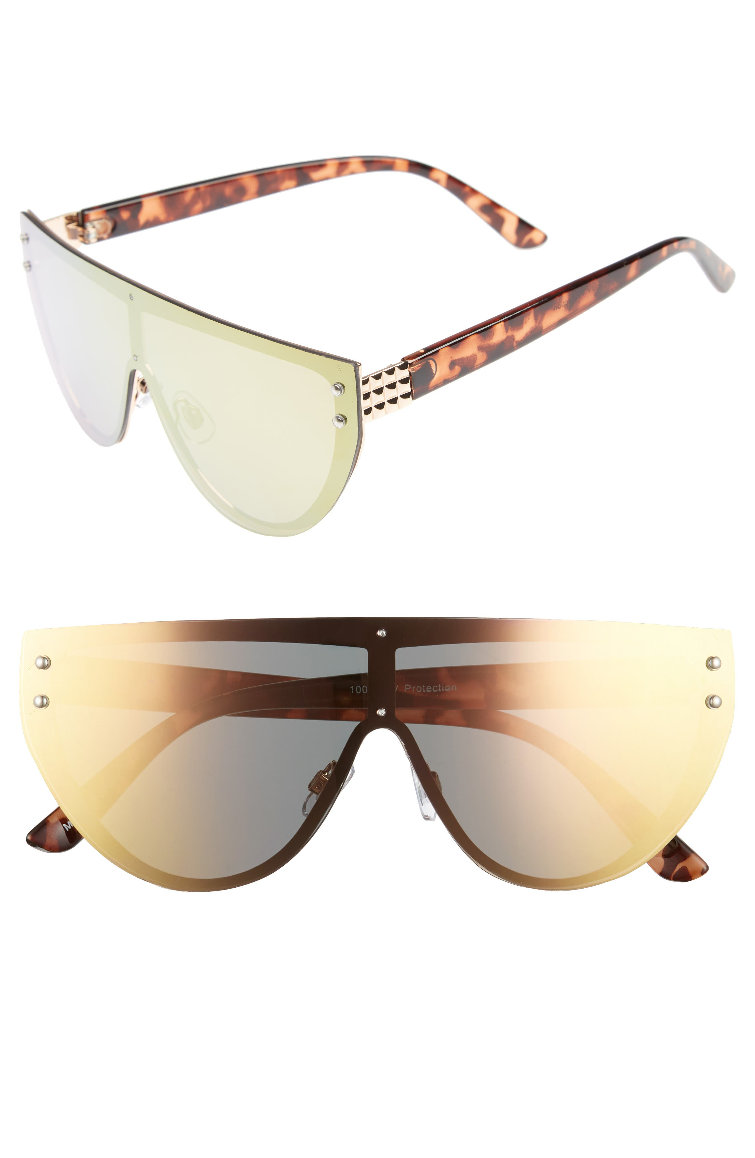 57mm Mirrored Rimless Shield Sunglasses,                         Main,                         color, Tort/ Pink Mirror
