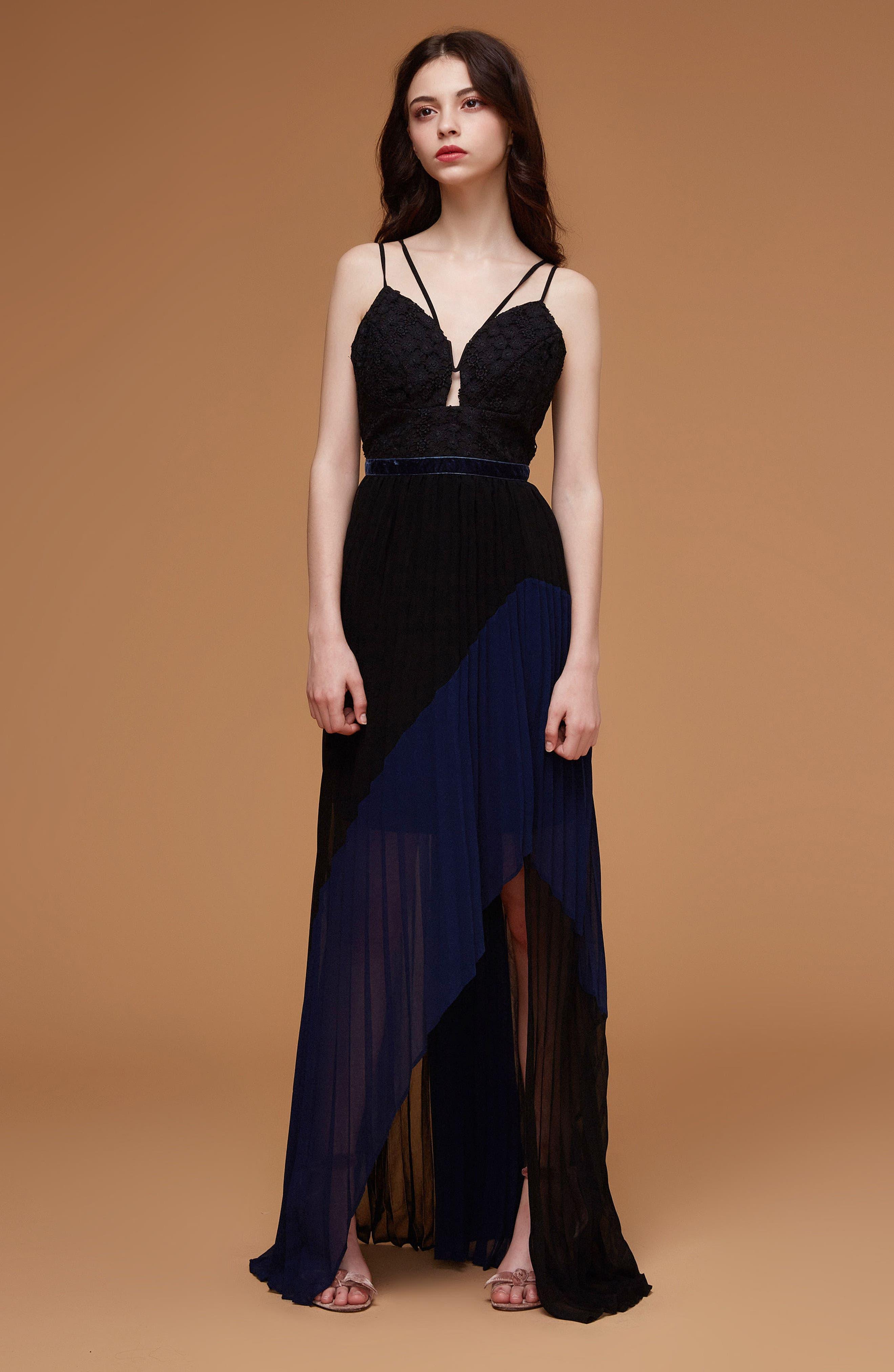 Nealea Pleat Chiffon Gown,                             Alternate thumbnail 2, color,                             Black/ Navy