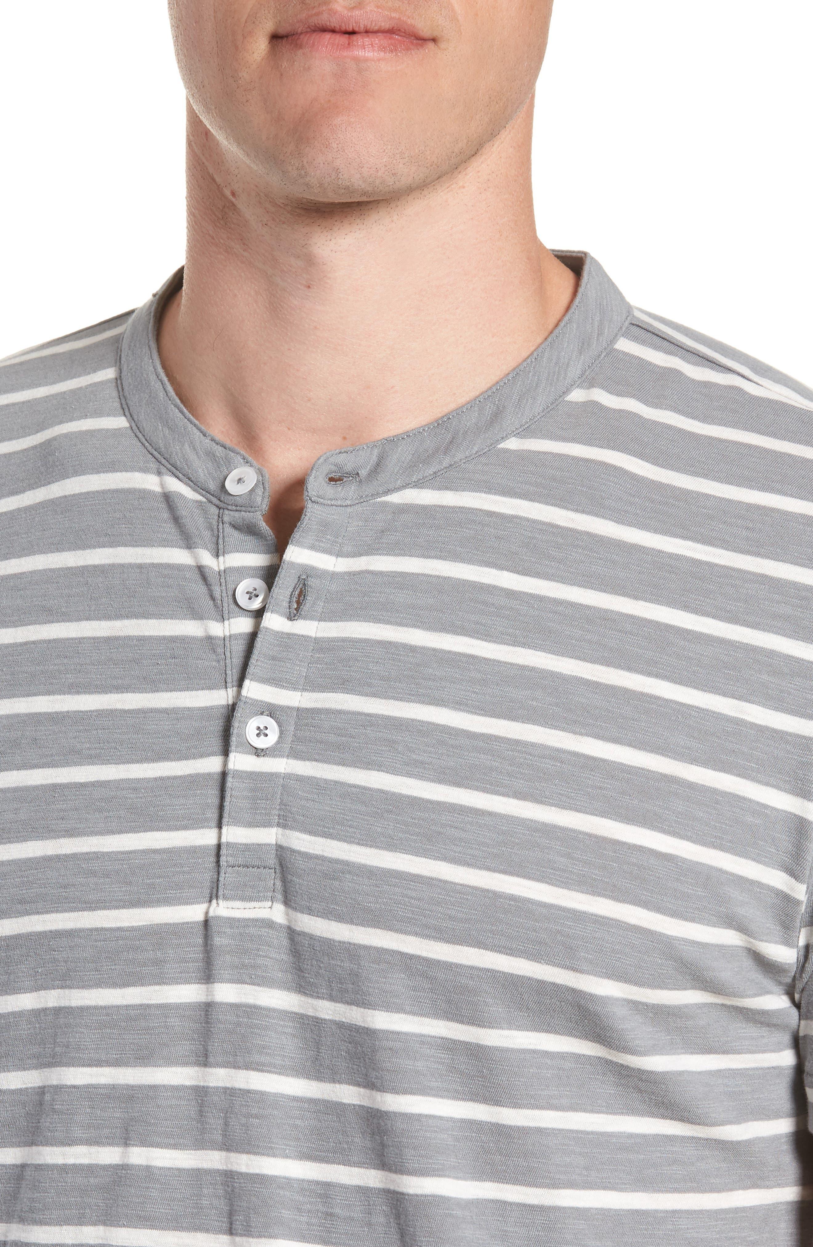 Slim Fit Stripe Henley T-Shirt,                             Alternate thumbnail 4, color,                             Sterling/ Seashell