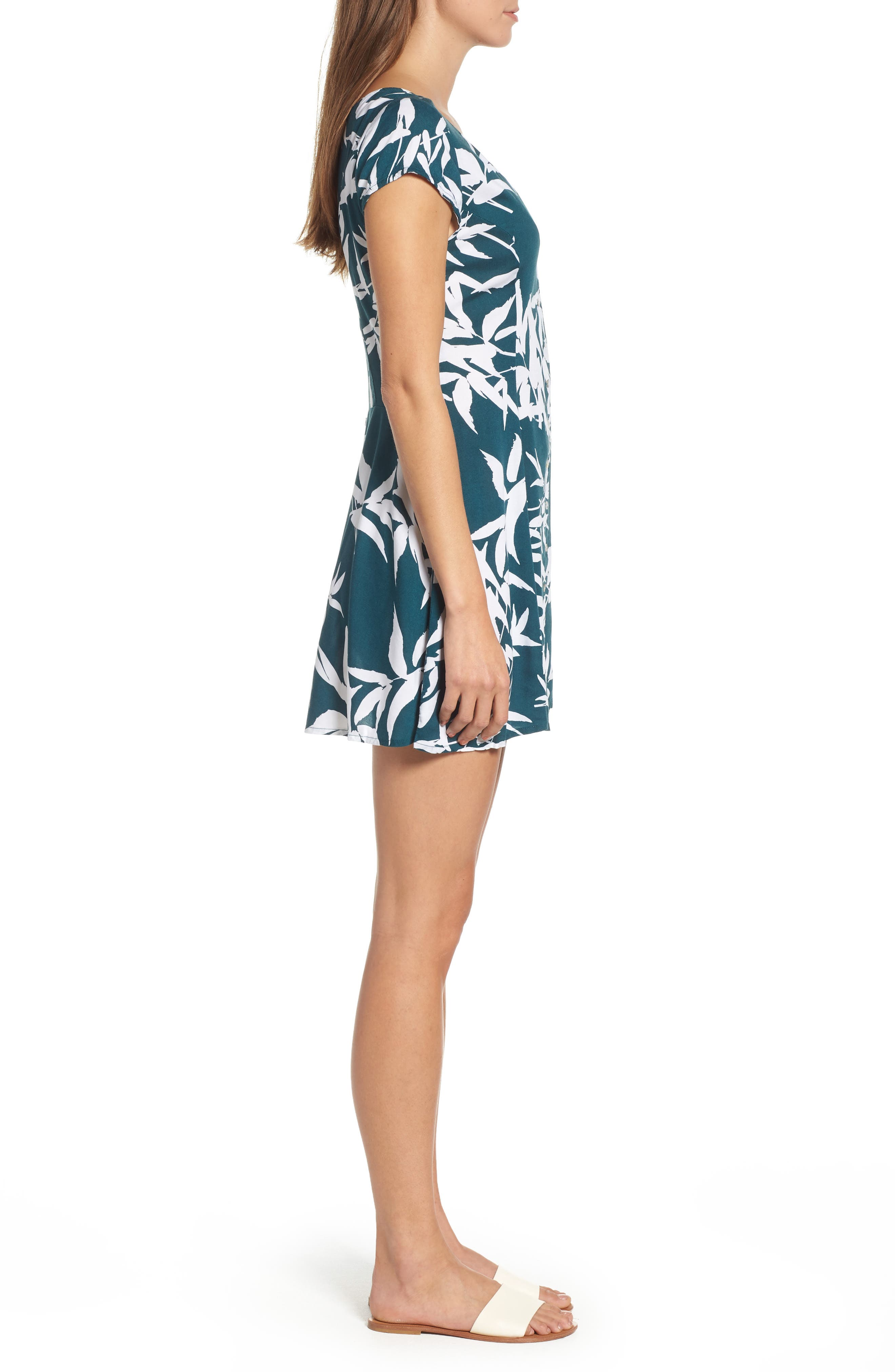 Calico Leaf Print Dress,                             Alternate thumbnail 3, color,                             Spruce Multi