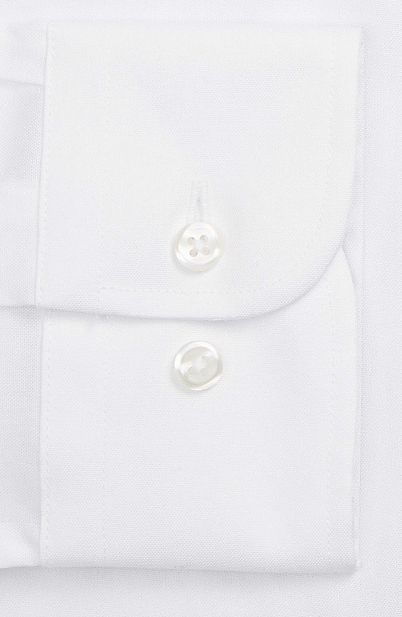 Extra Trim Fit Non-Iron Solid Dress Shirt,                             Alternate thumbnail 7, color,                             White