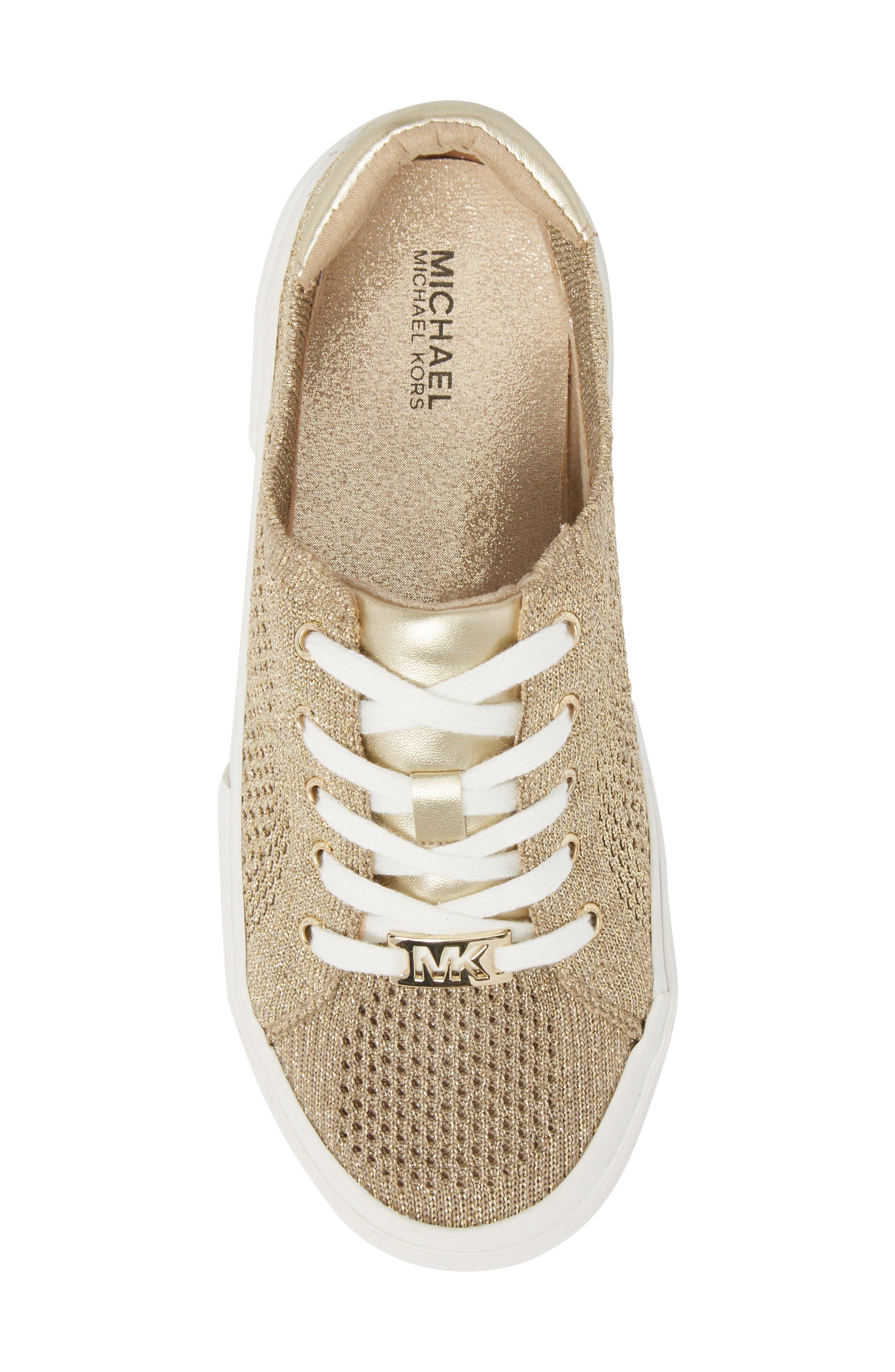 Ima Metallic Knit Sneaker,                             Alternate thumbnail 5, color,                             Gold