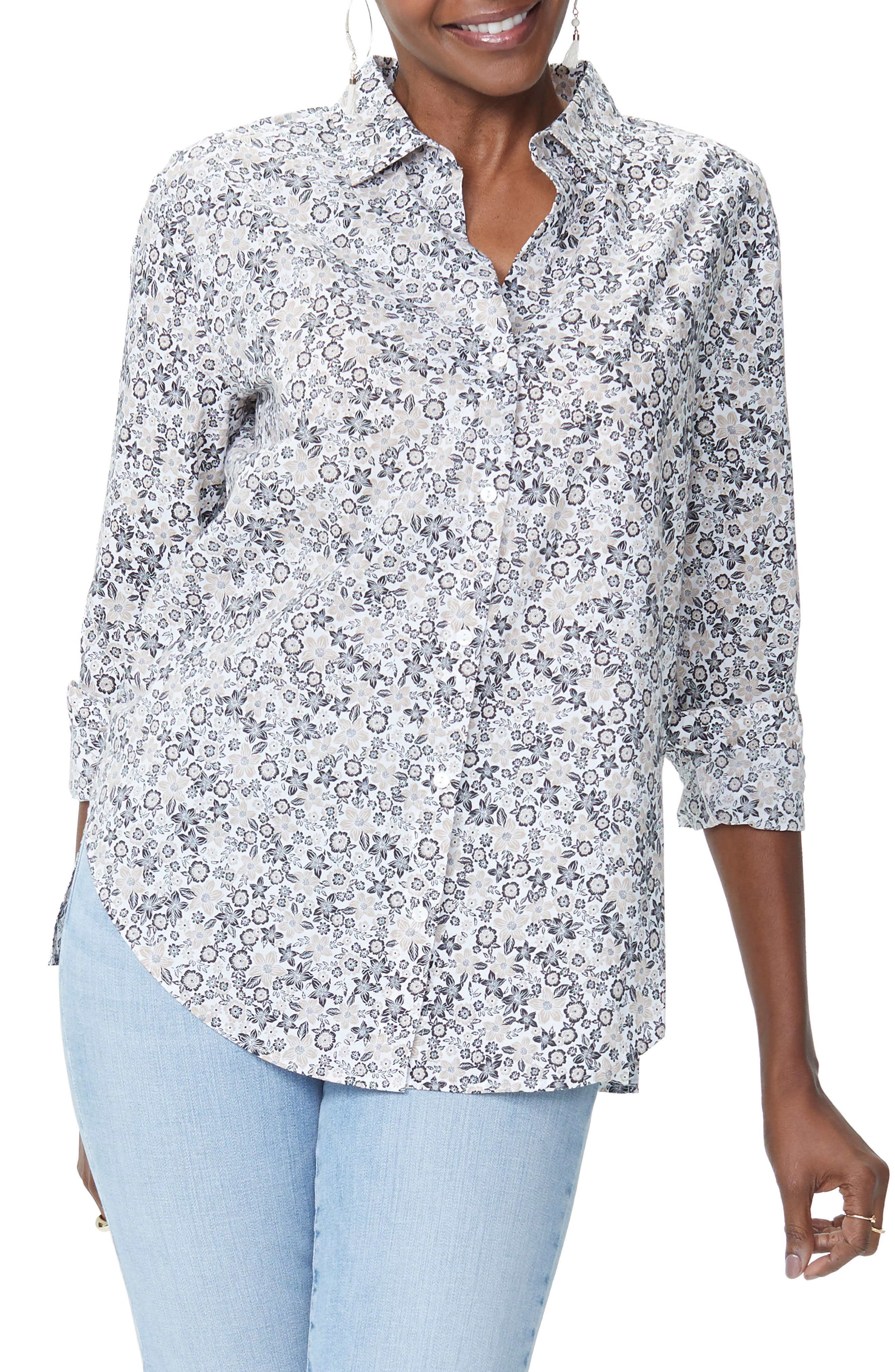 Classic Cotton Lawn Blouse,                             Main thumbnail 1, color,                             Pacific Ditsy Pale Oak