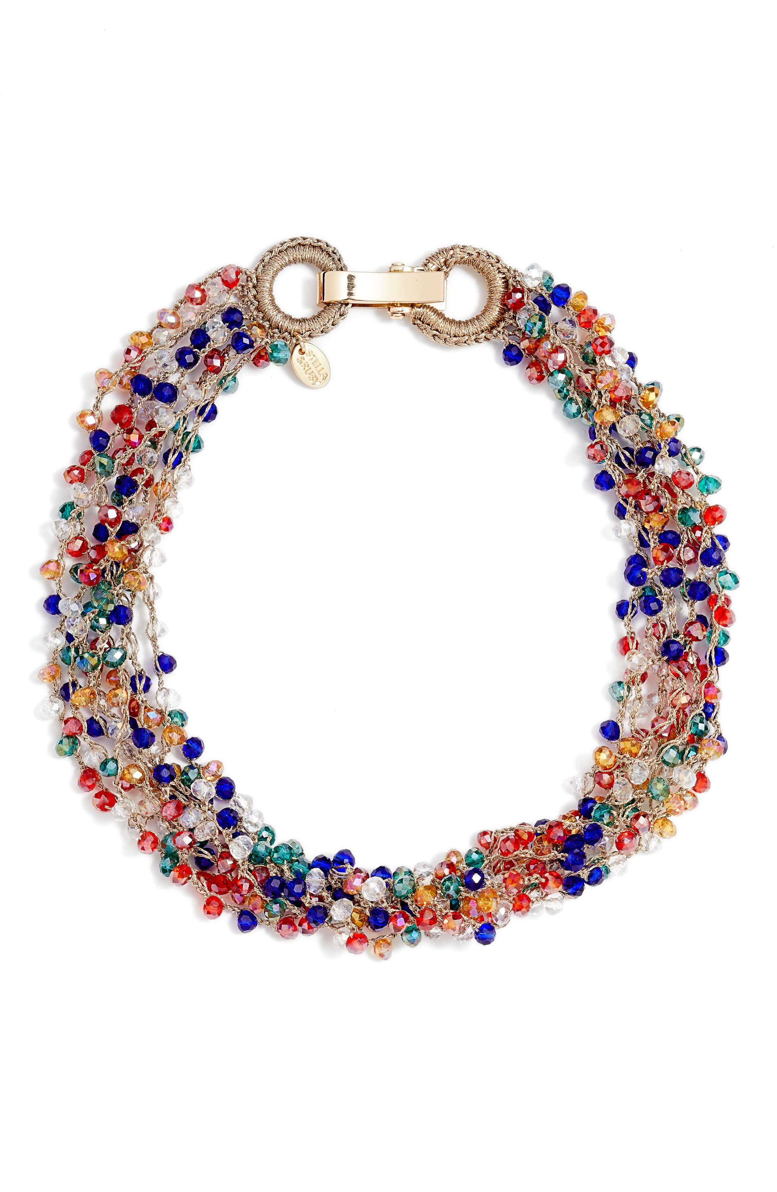 Crochet Beaded Collar Necklace,                         Main,                         color, Gold/ Multi