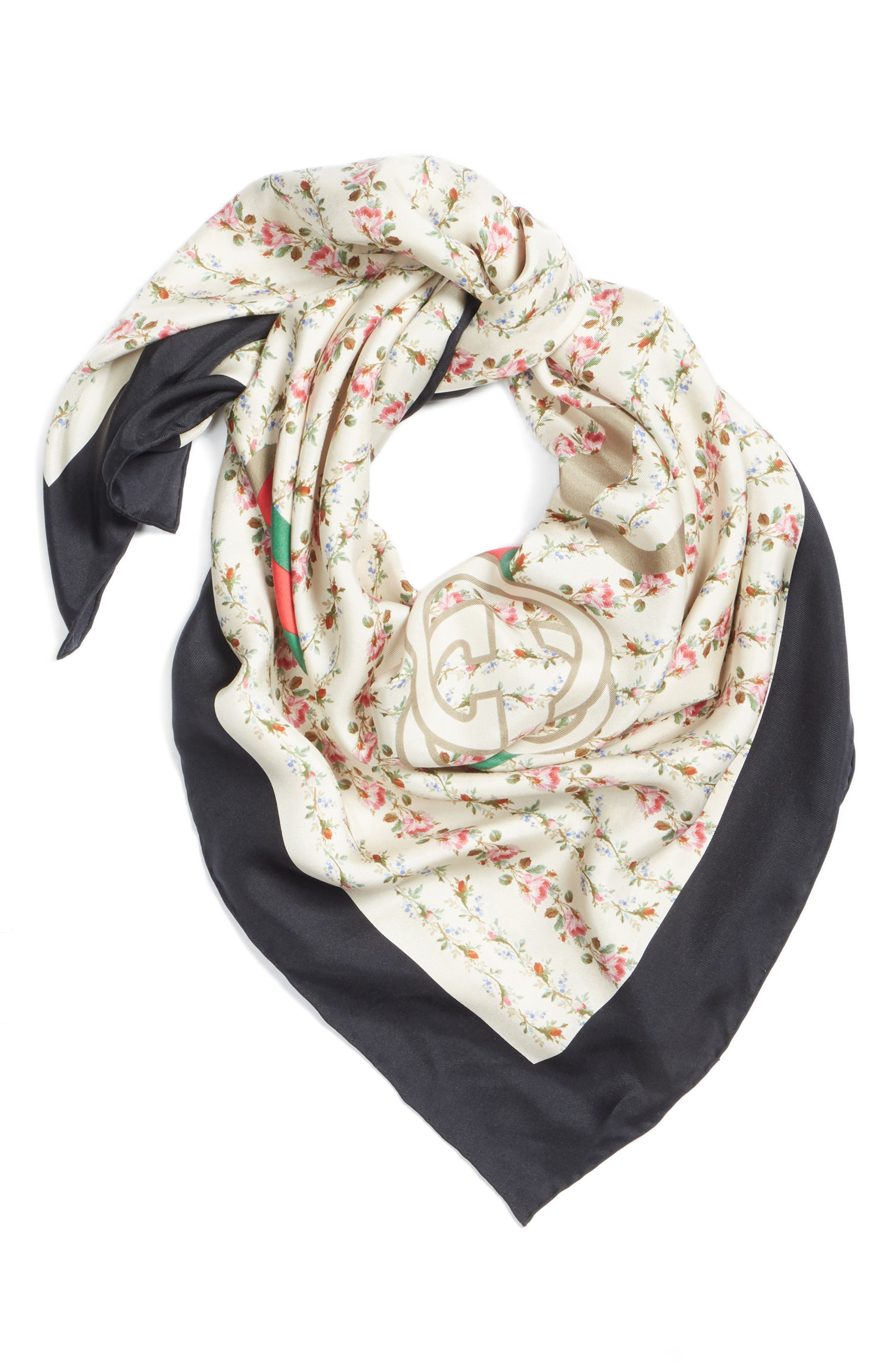 New Flora Silk Scarf,                             Alternate thumbnail 3, color,                             Ivory