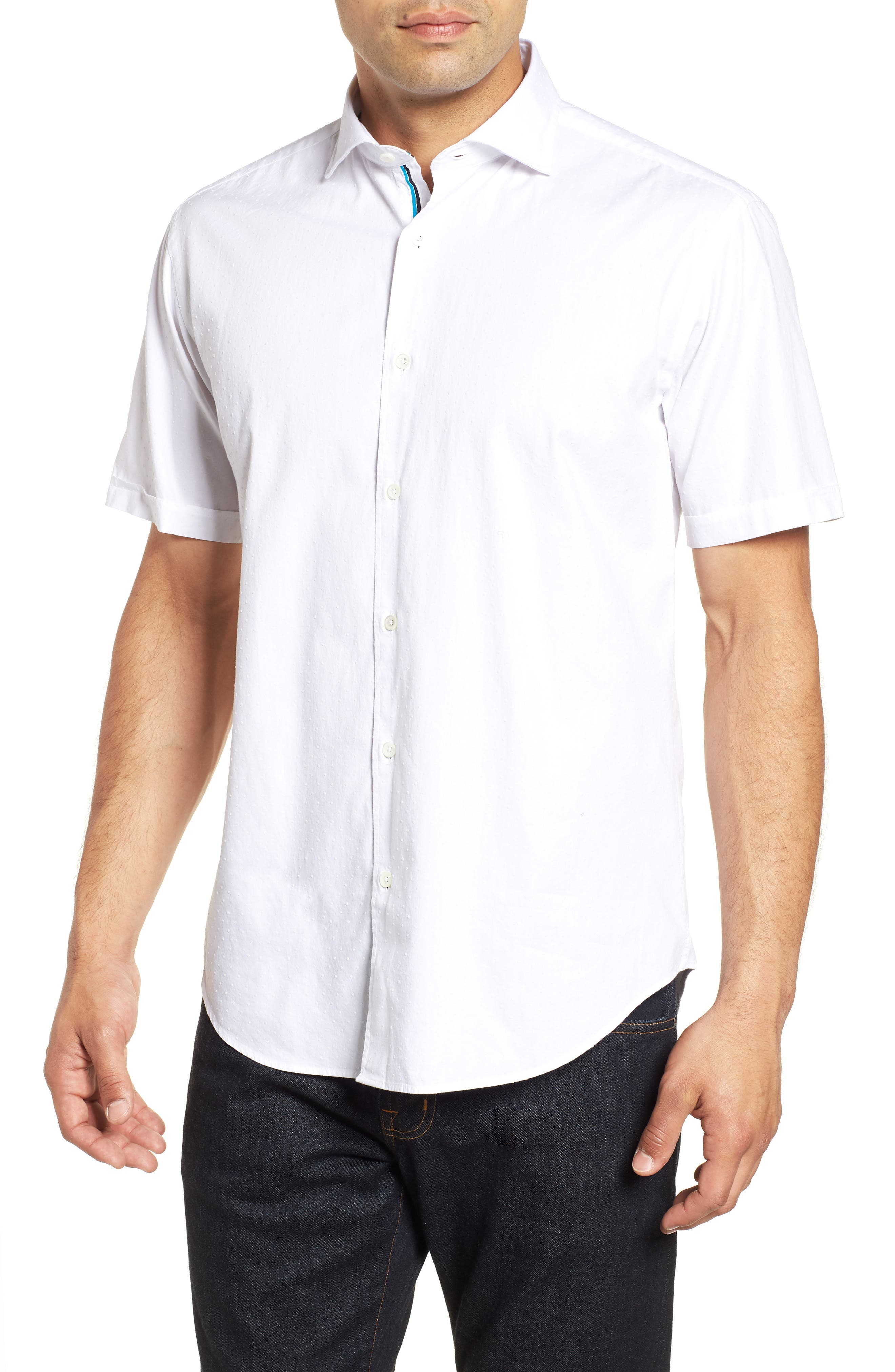 Shaped Fit Solid Sport Shirt,                         Main,                         color, White